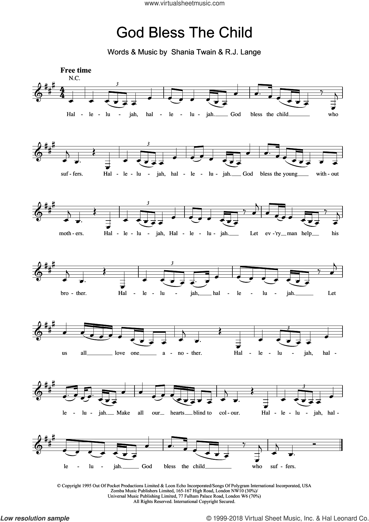 God Bless The Child sheet music for voice and other instruments (fake book) by Robert John Lange and Shania Twain. Score Image Preview.