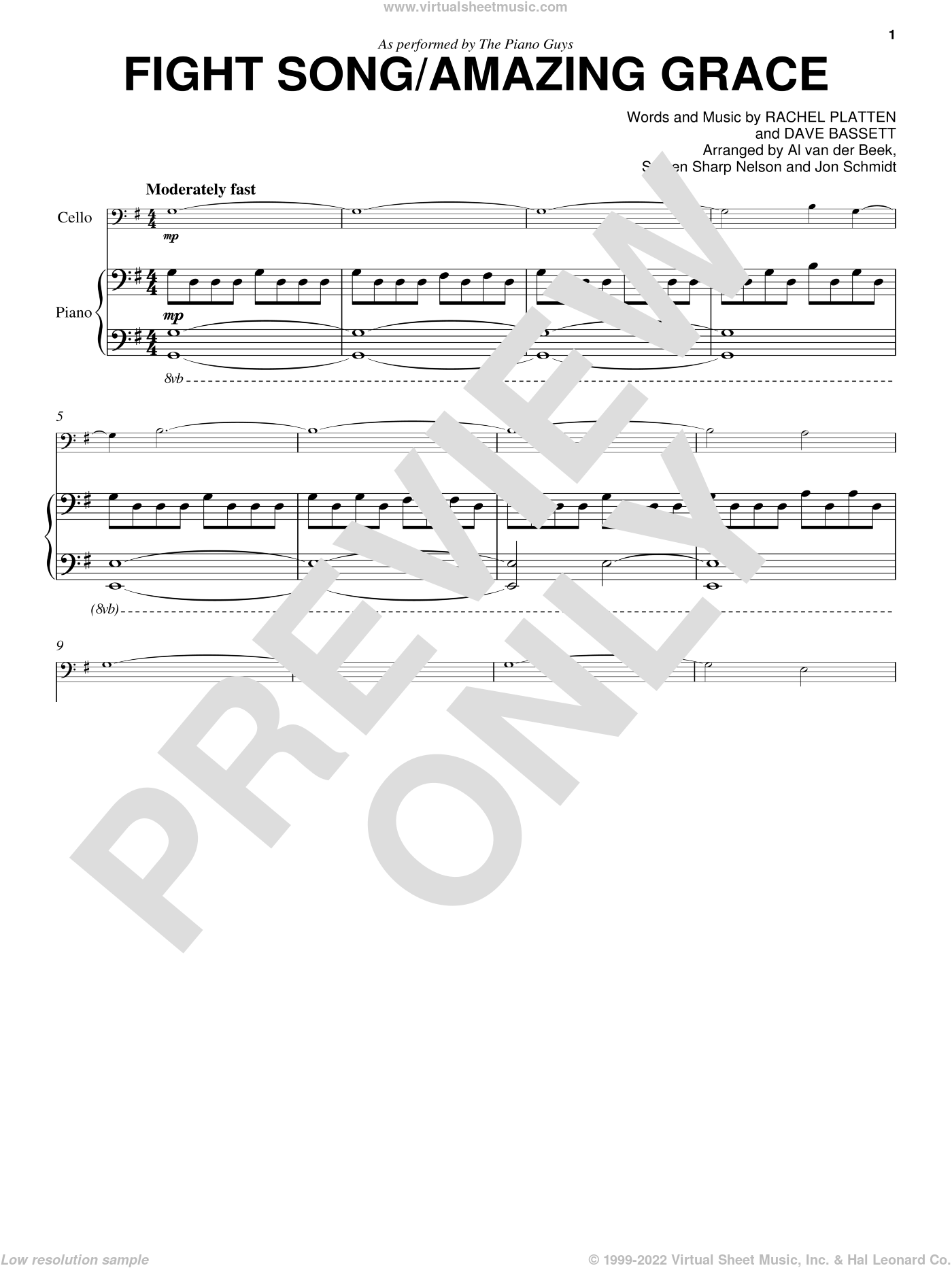 Fight Song/Amazing Grace sheet music for cello and piano by The Piano Guys, Dave Bassett and Rachel Platten, intermediate skill level