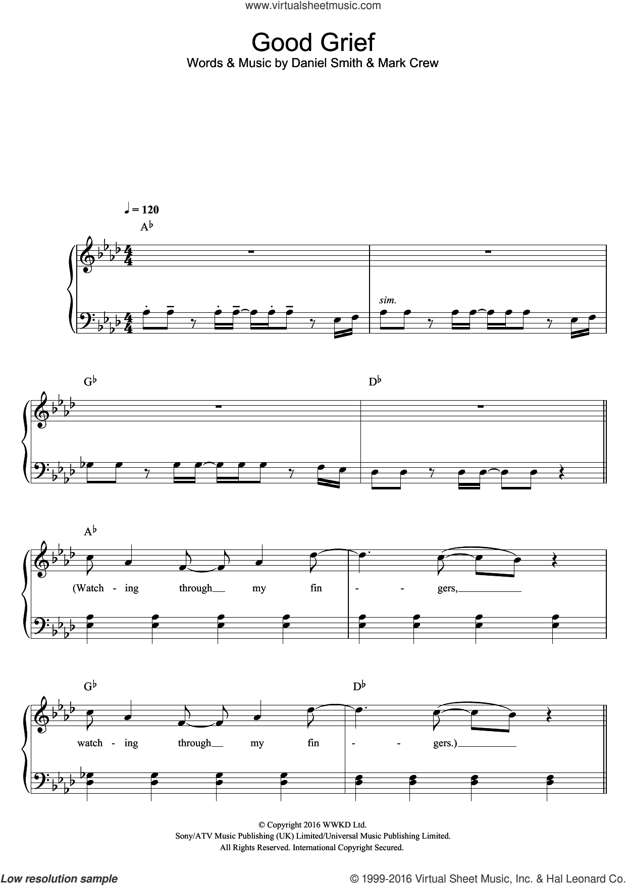 Good Grief sheet music for piano solo by Bastille, Daniel Smith and Mark Crew, easy skill level
