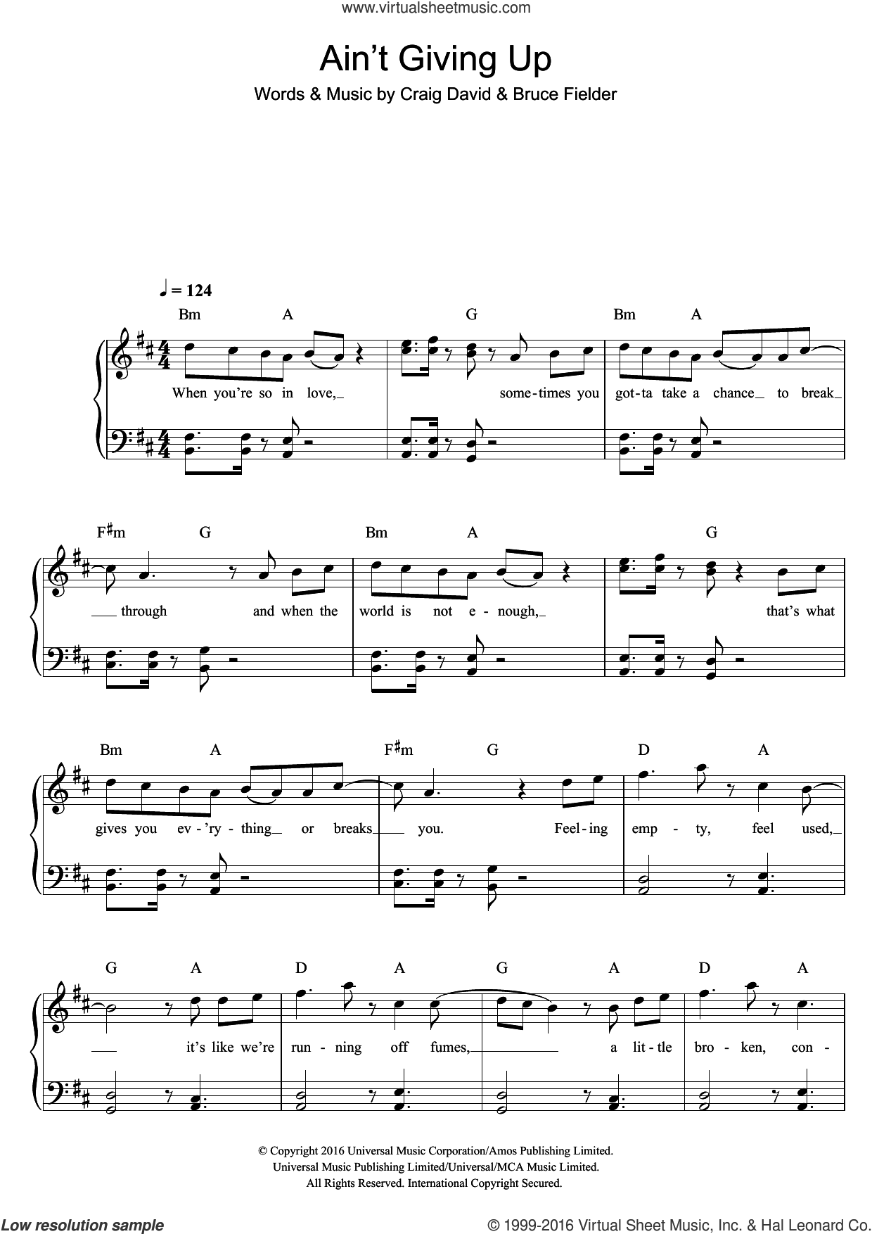 Ain't Giving Up (featuring Sigala) sheet music for piano solo by Bruce Fielder and Craig David. Score Image Preview.