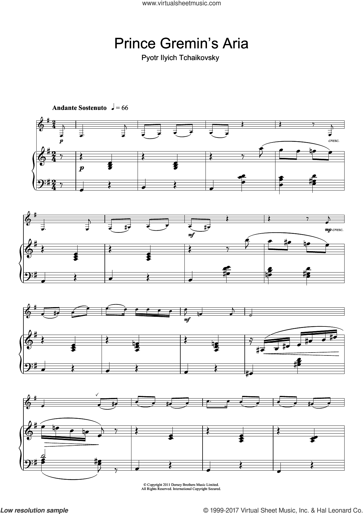 Prince Gremin's Aria (from Eugene Onegin) sheet music for clarinet solo by Pyotr Ilyich Tchaikovsky, classical score, intermediate skill level