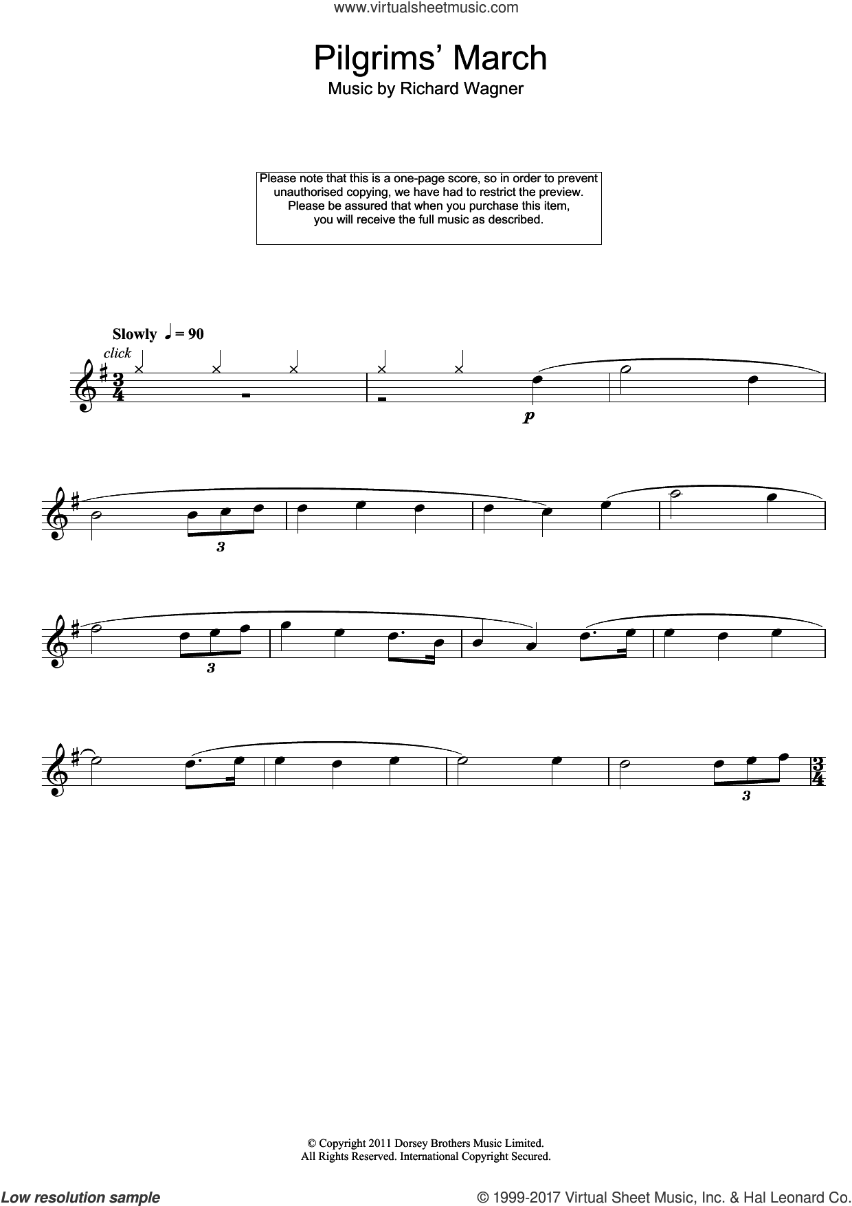 Pilgrims' March sheet music for flute solo by Richard Wagner, classical score, intermediate. Score Image Preview.