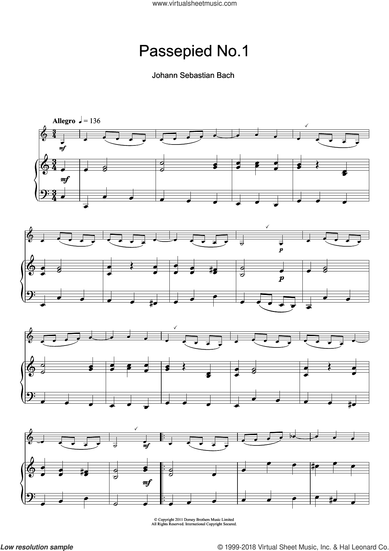 Passepied No.1 sheet music for clarinet solo by Johann Sebastian Bach, classical score, intermediate skill level
