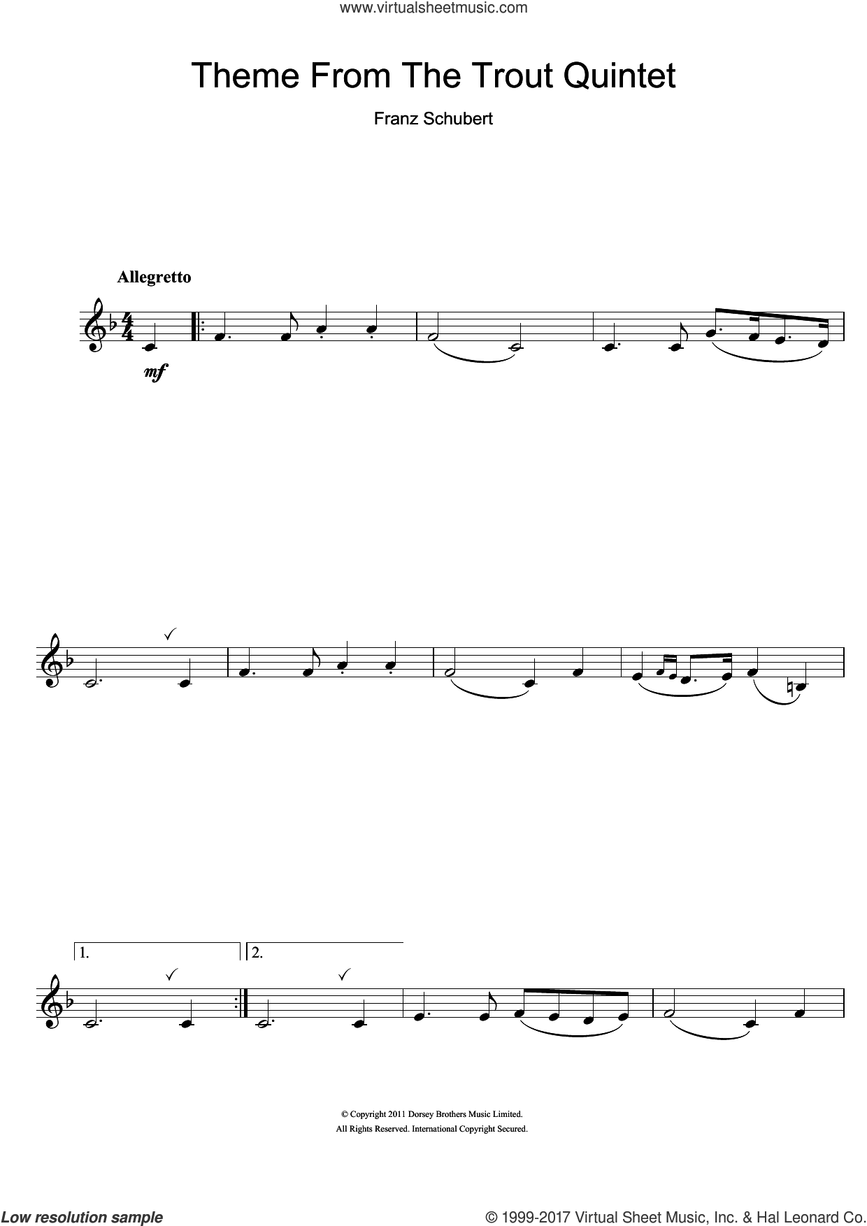 Theme From The Trout Quintet (Die Forelle) sheet music for clarinet solo by Franz Schubert, classical score, intermediate. Score Image Preview.