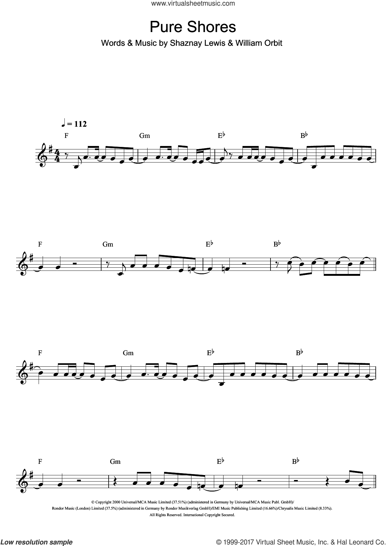 Pure Shores sheet music for clarinet solo by All Saints, Shaznay Lewis and William Orbit, intermediate skill level