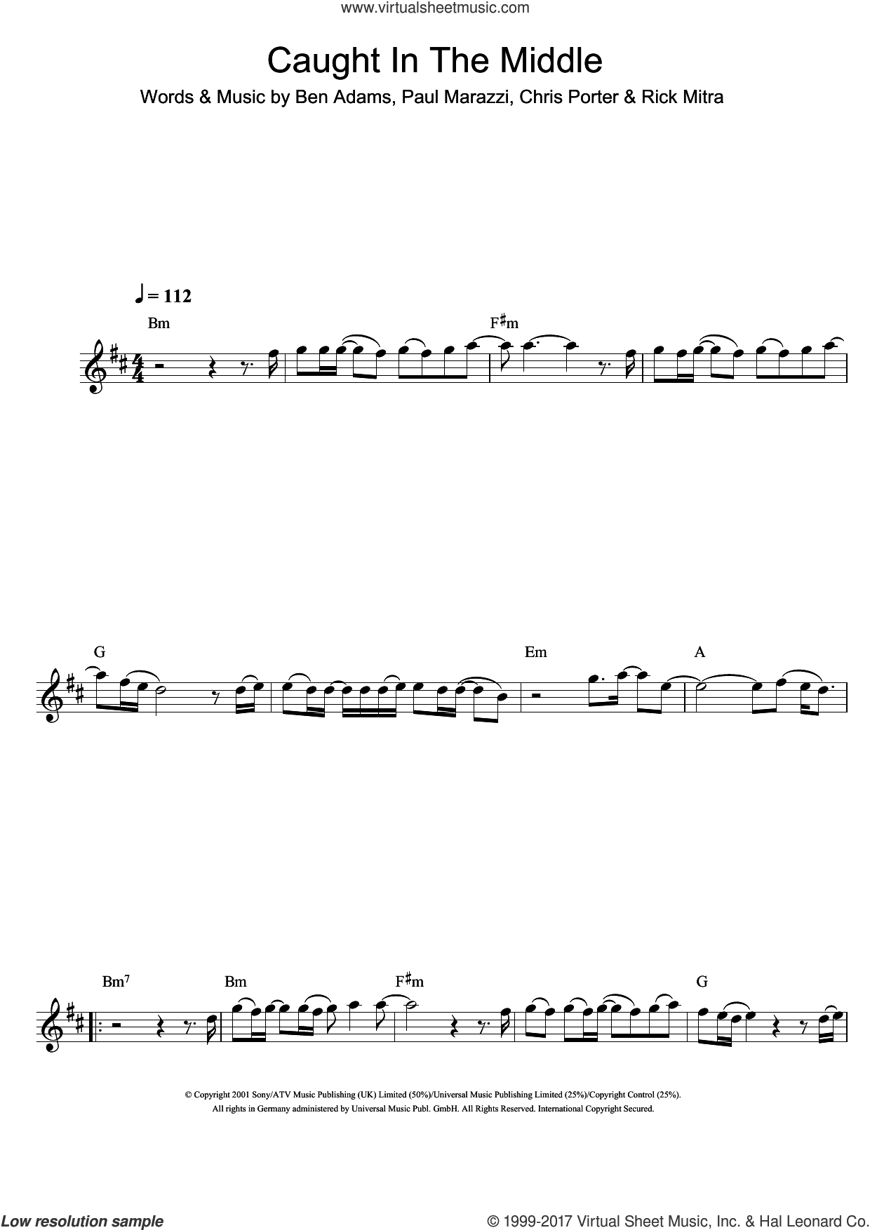 Caught In The Middle sheet music for flute solo by A1, Ben Adams, Chris Porter, Paul Marazzi and Rick Mitra, intermediate skill level