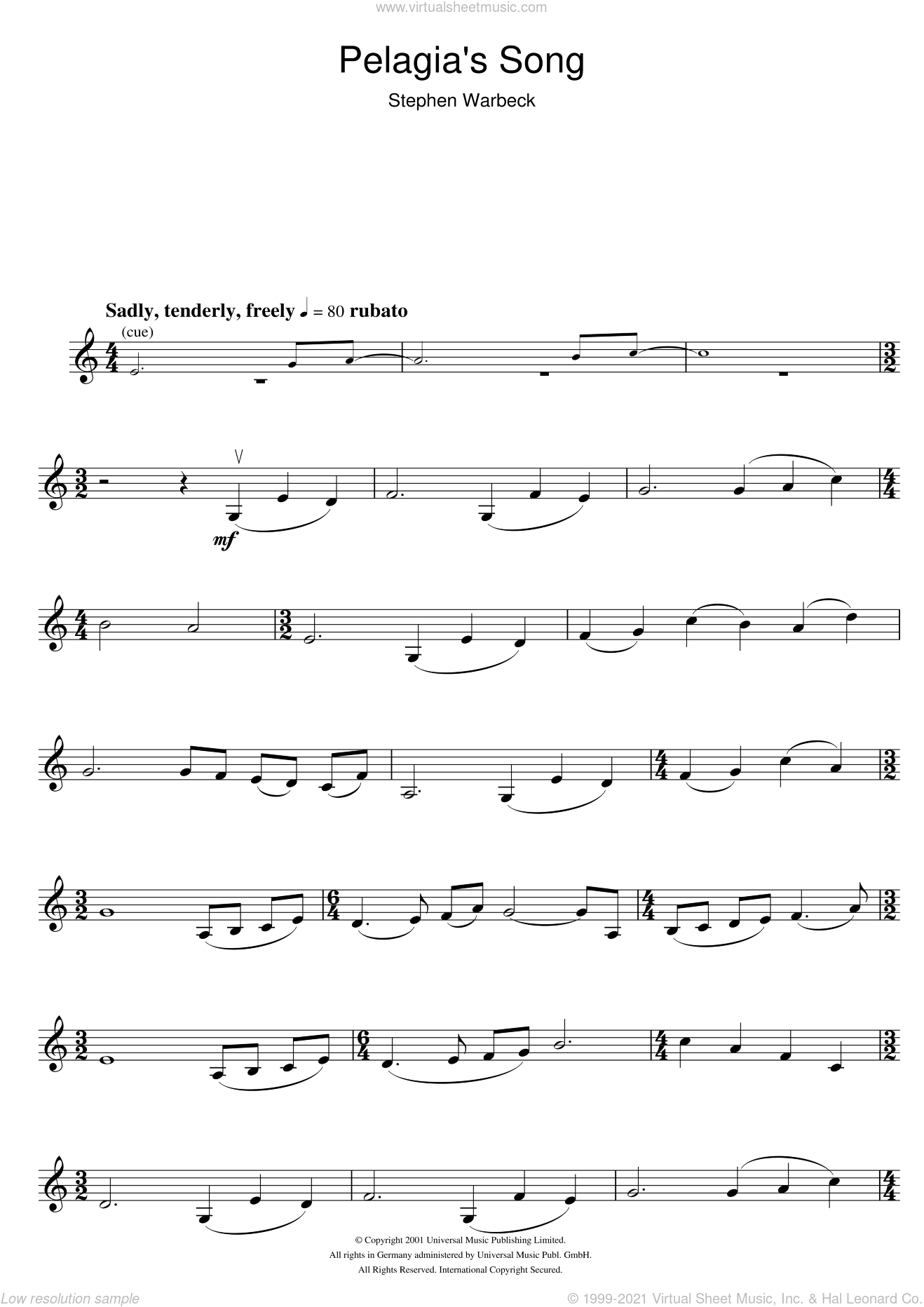 Pelagia's Song (from Captain Corelli's Mandolin) sheet music for violin solo by Stephen Warbeck, intermediate skill level