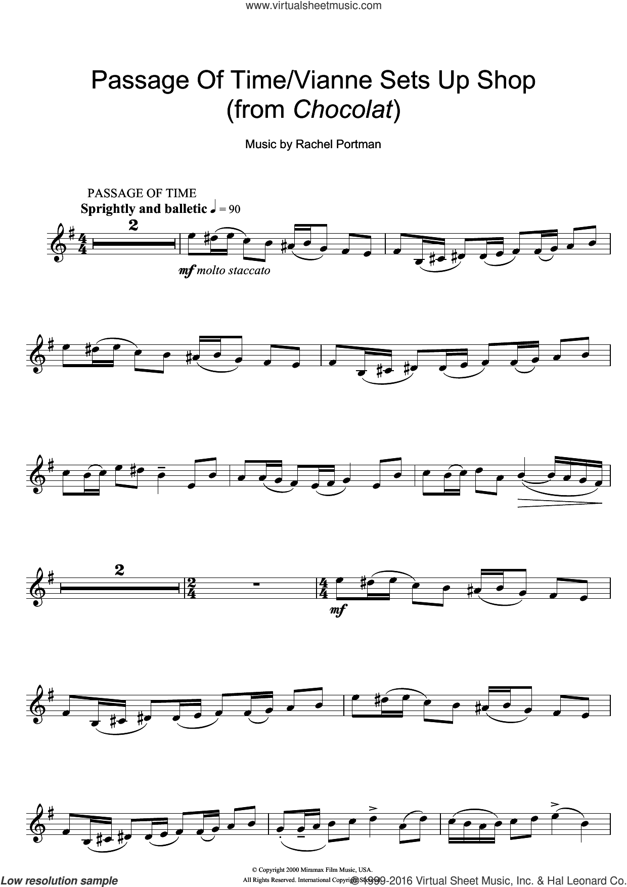 Passage Of Time/Vianne Sets Up Shop (from Chocolat) sheet music for violin solo by Rachel Portman, intermediate. Score Image Preview.