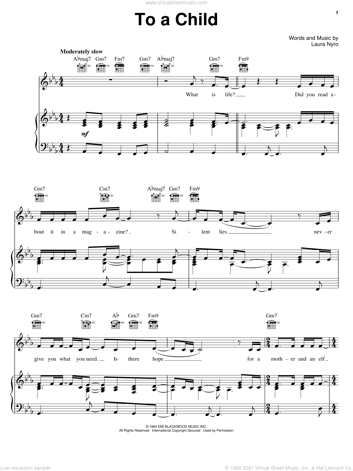 To A Child sheet music for voice, piano or guitar by Laura Nyro. Score Image Preview.