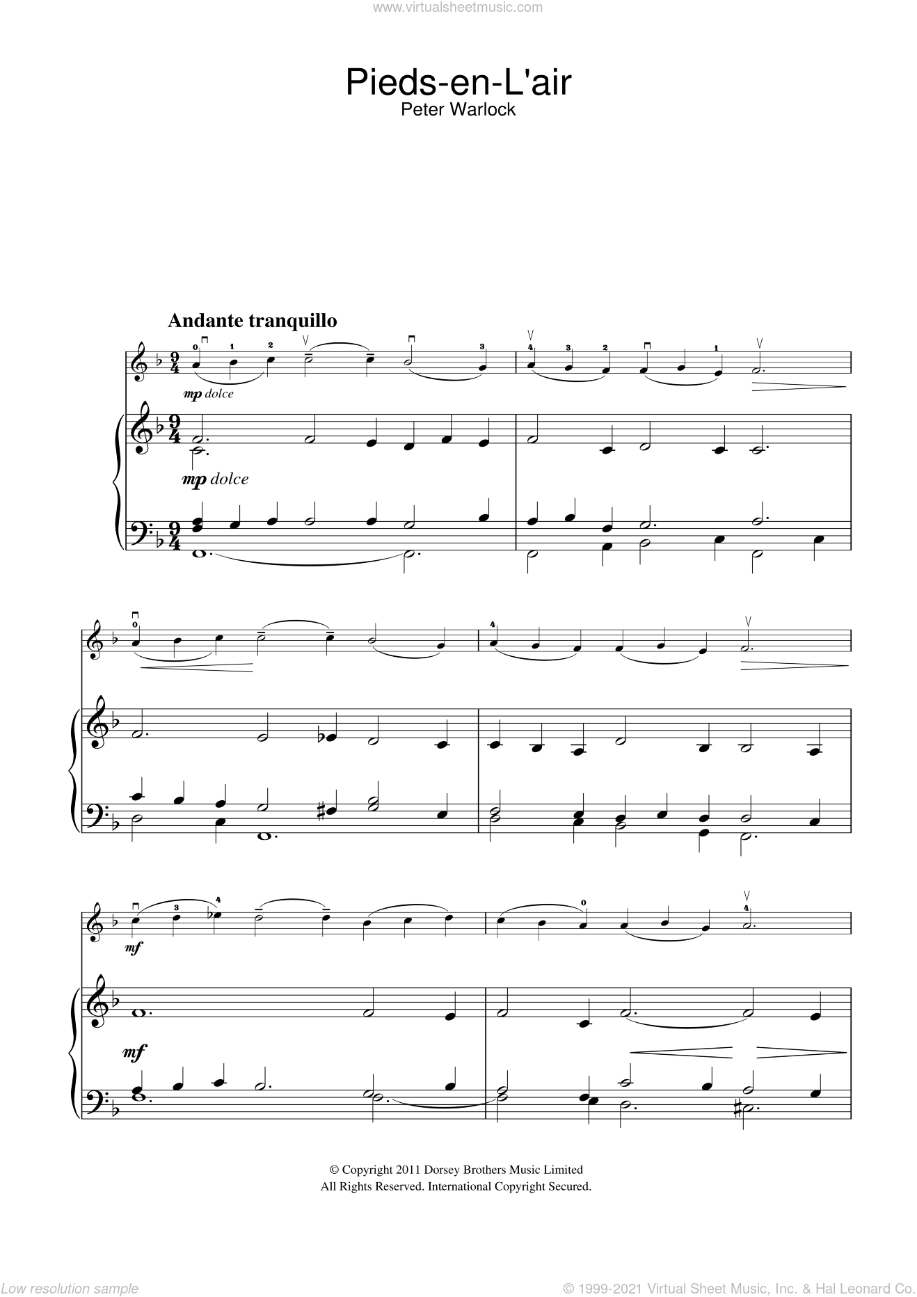 Pieds-En-L'air (from the Capriol Suite) sheet music for violin solo by Peter Warlock, classical score, intermediate skill level
