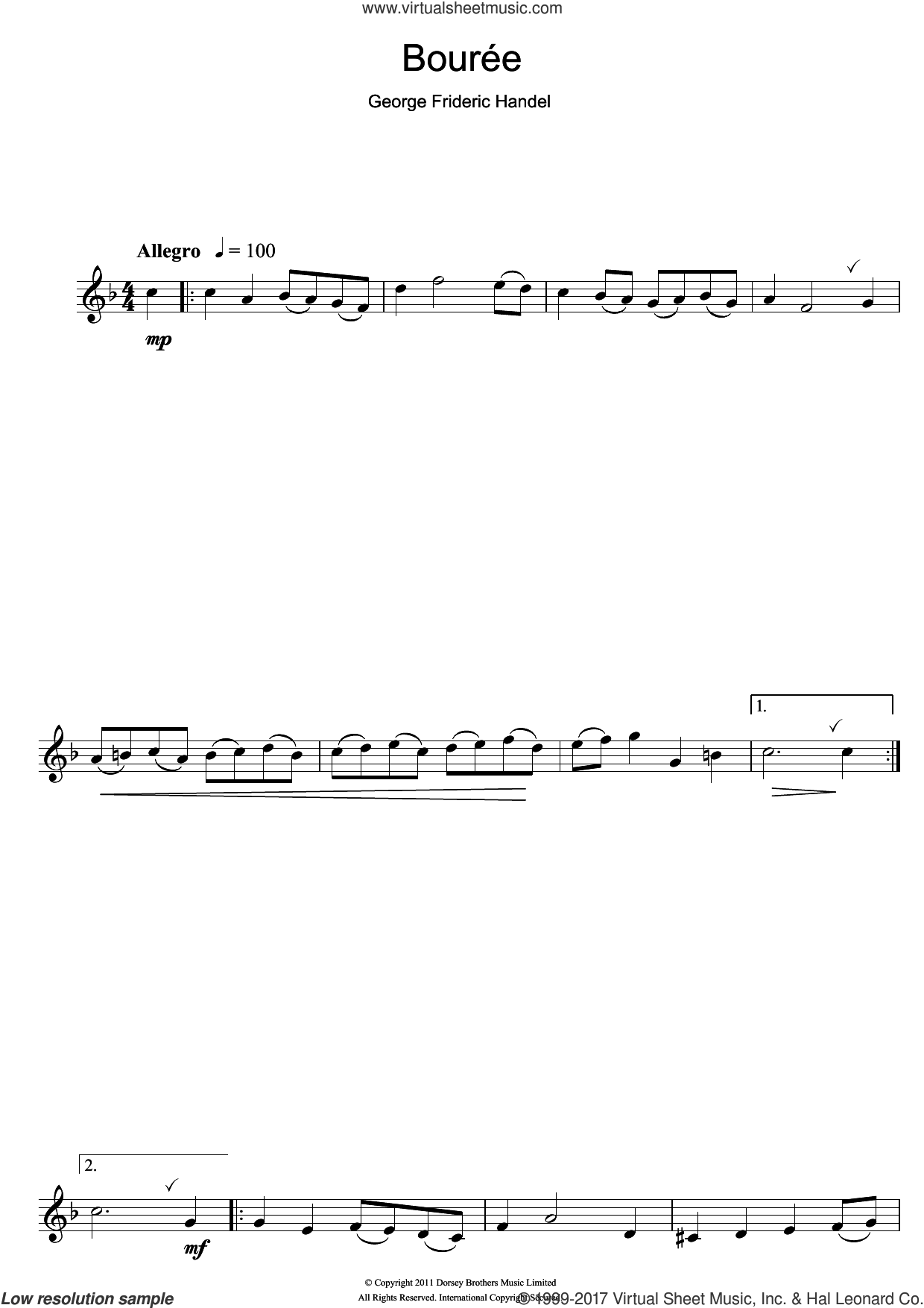 Bouree In G Major sheet music for clarinet solo by George Frideric Handel, classical score, intermediate skill level