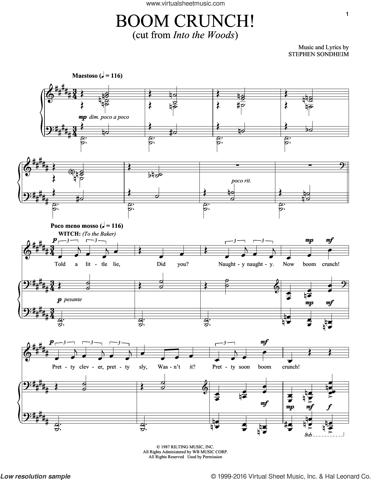 Boom Crunch sheet music for voice and piano by Stephen Sondheim, intermediate skill level