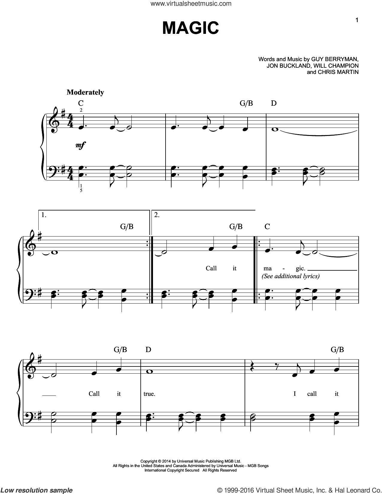 Magic sheet music for piano solo by Guy Berryman, Coldplay, Chris Martin, Jon Buckland and Will Champion, easy skill level