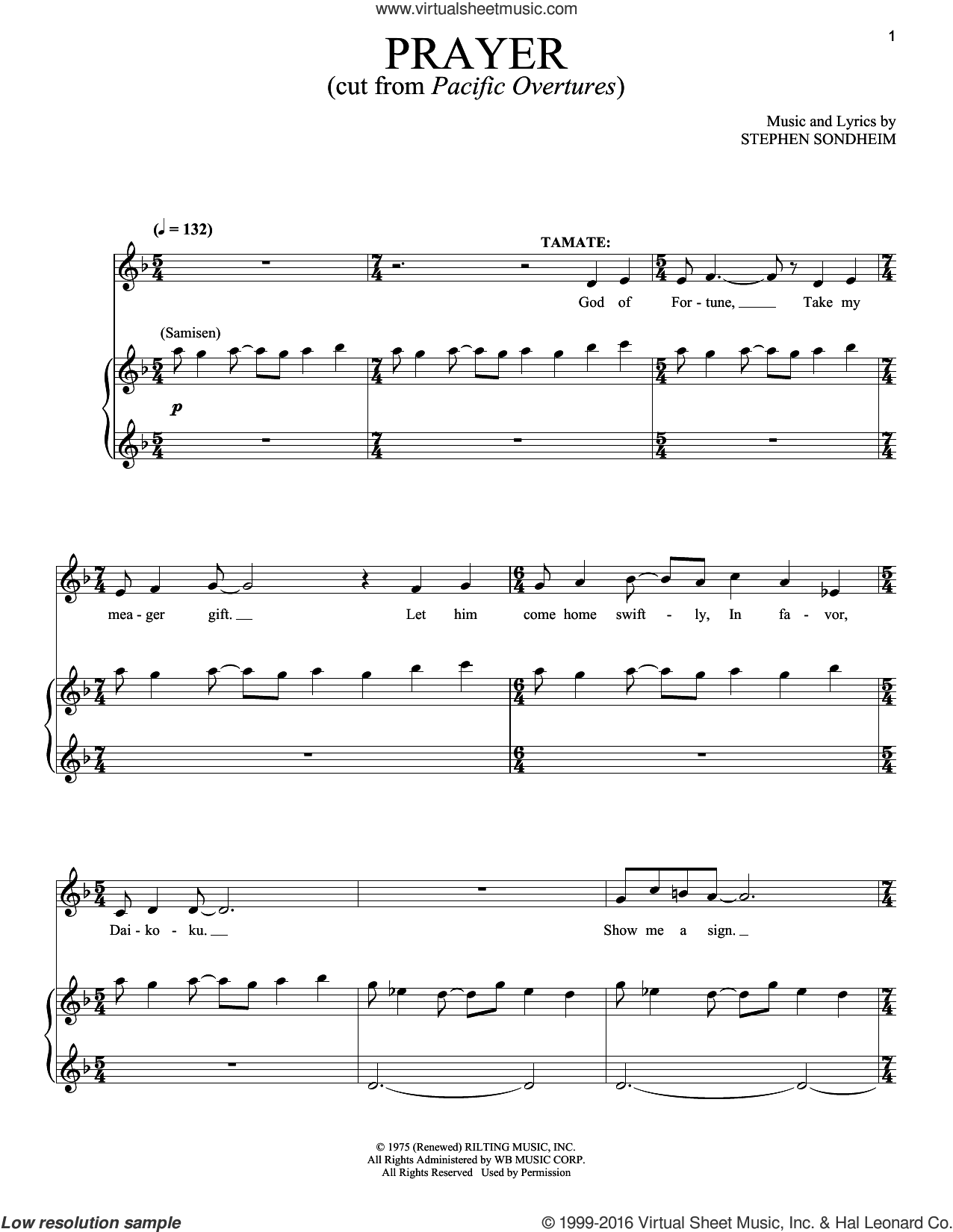 Prayers sheet music for voice and piano by Stephen Sondheim, intermediate skill level