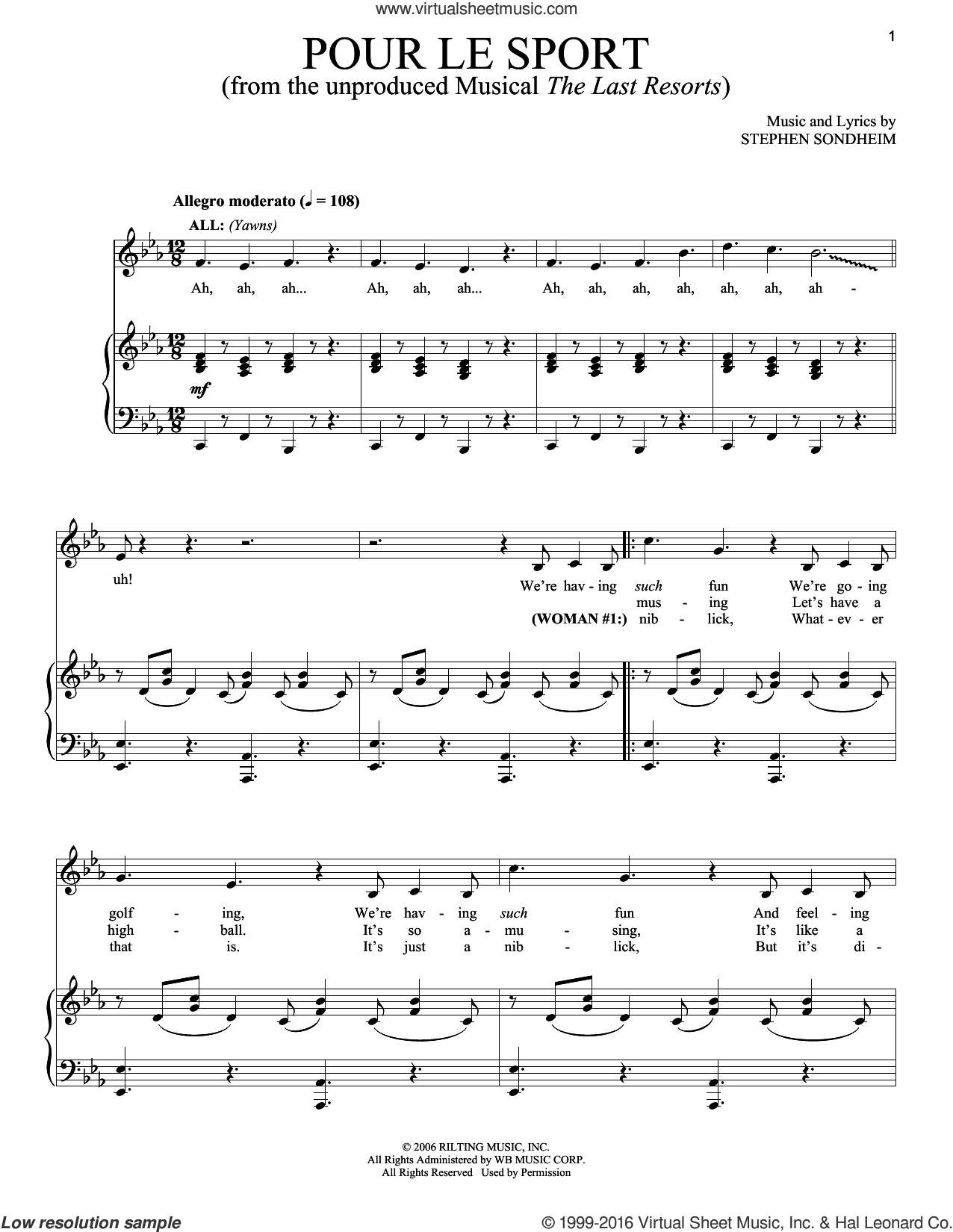 Pour Le Sport sheet music for voice and piano by Stephen Sondheim, intermediate skill level