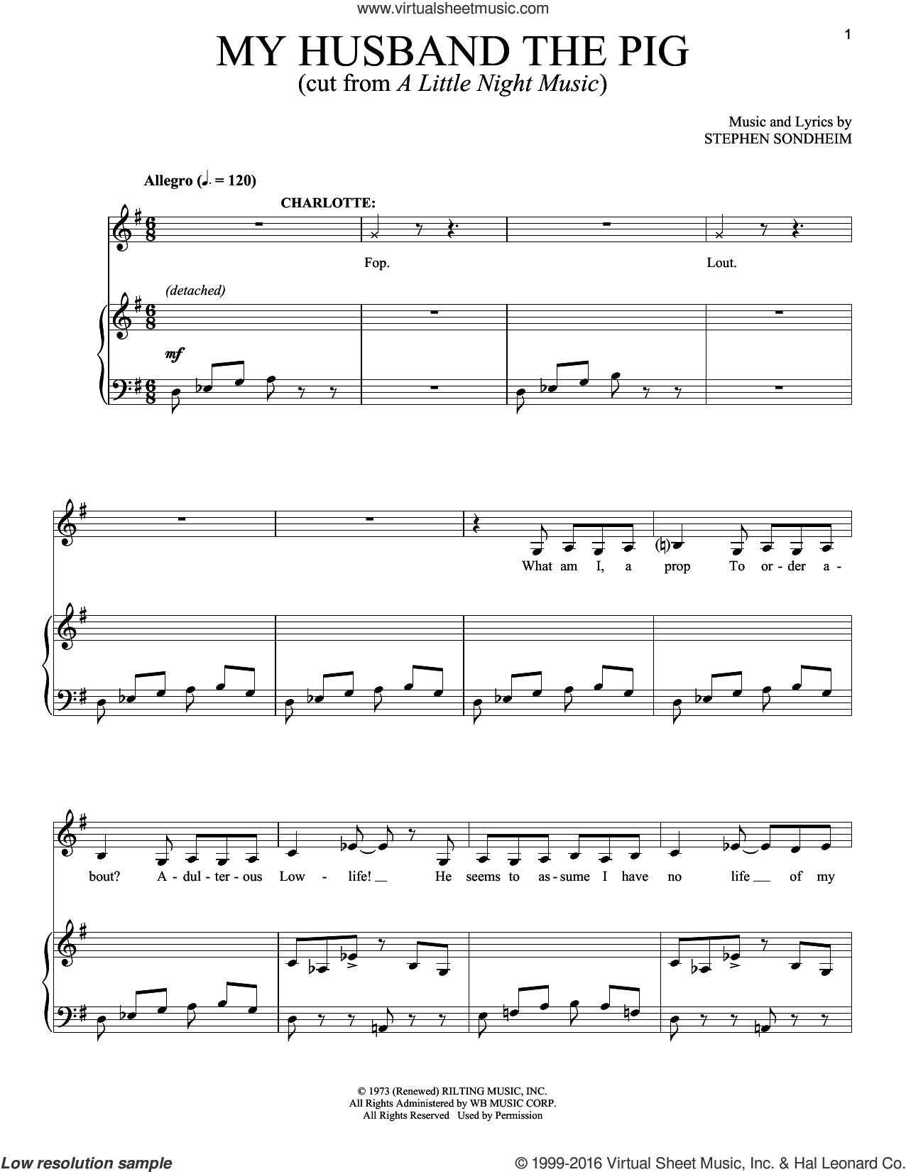 My Husband The Pig sheet music for voice and piano by Stephen Sondheim, intermediate skill level