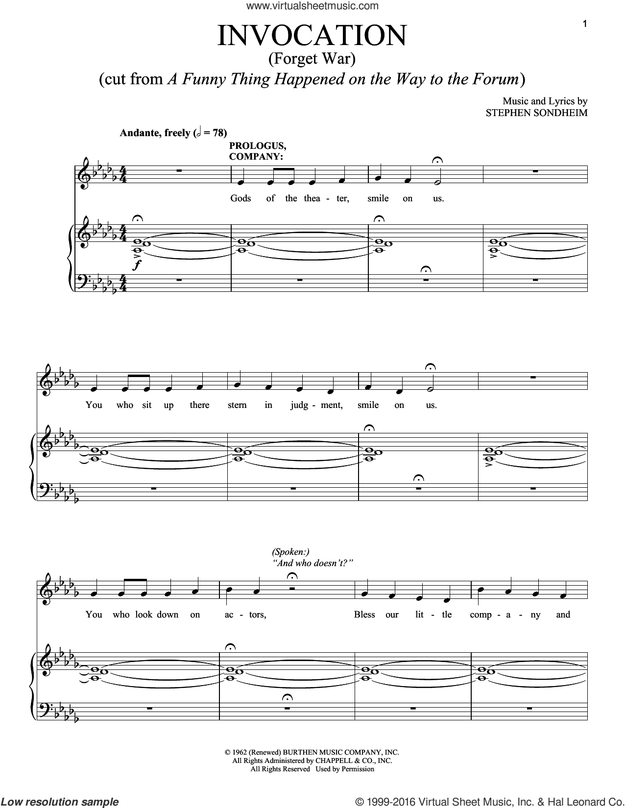 Invocation (Forget War) sheet music for voice and piano by Stephen Sondheim. Score Image Preview.