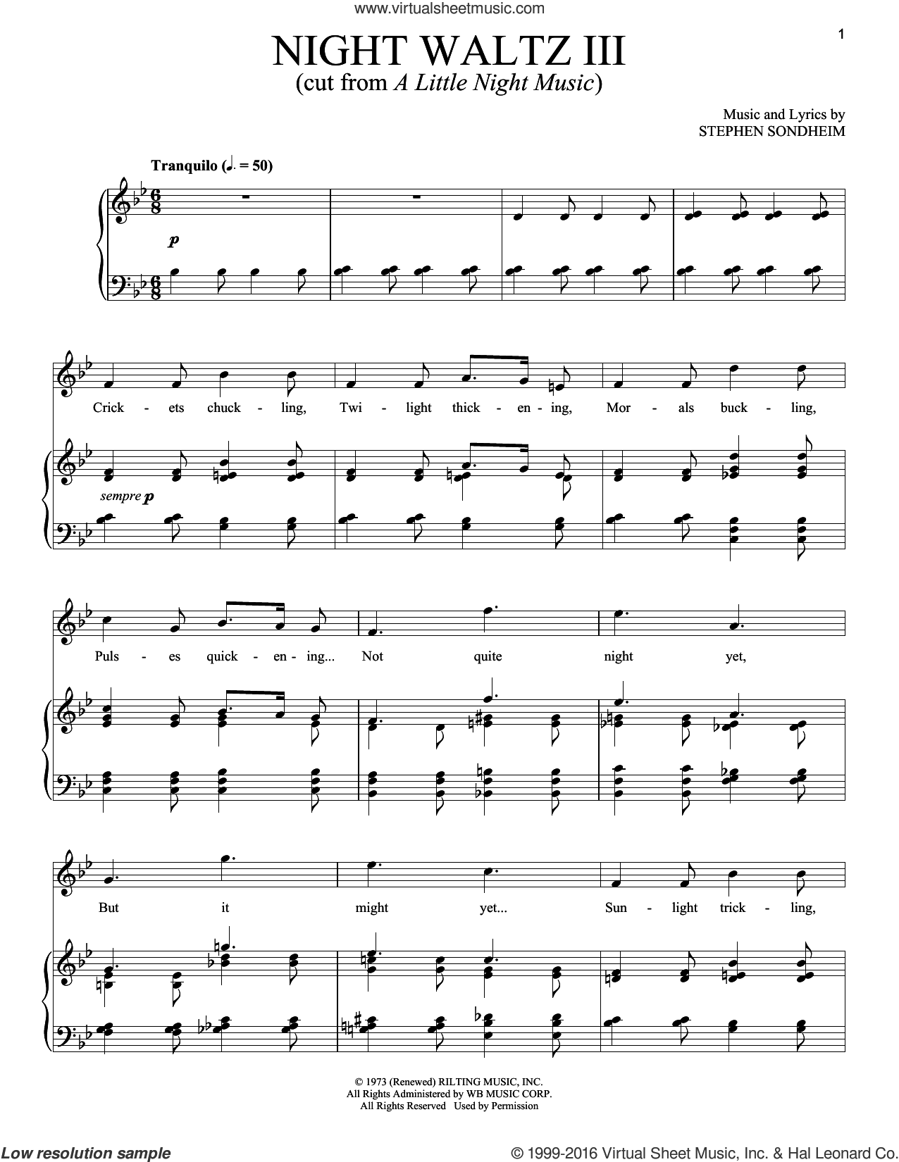 Night Waltz III sheet music for voice and piano by Stephen Sondheim, intermediate skill level
