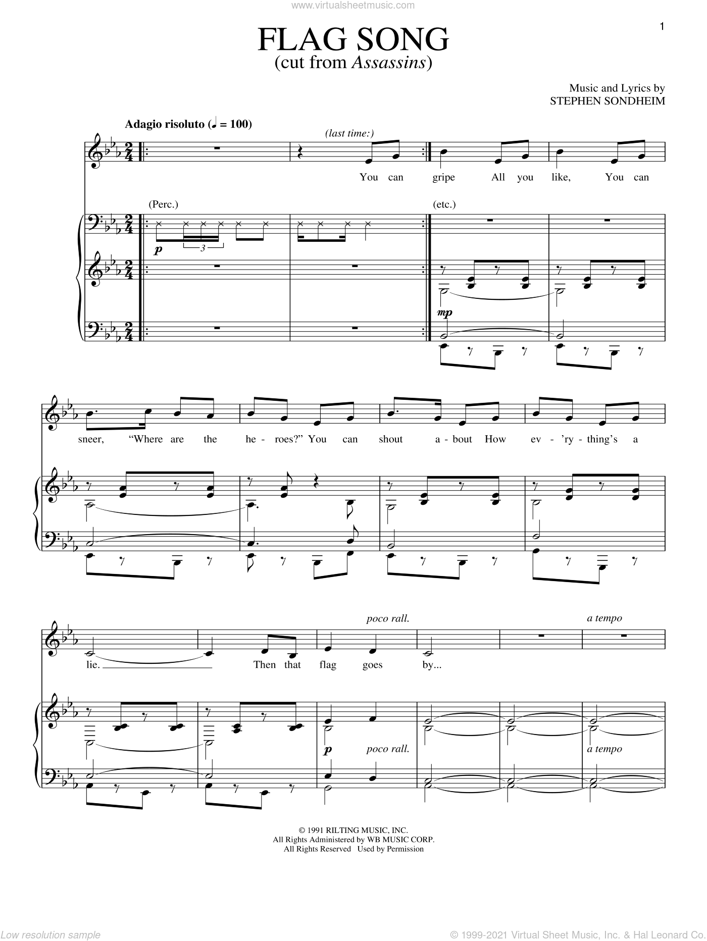 Flag Song sheet music for voice and piano by Stephen Sondheim. Score Image Preview.