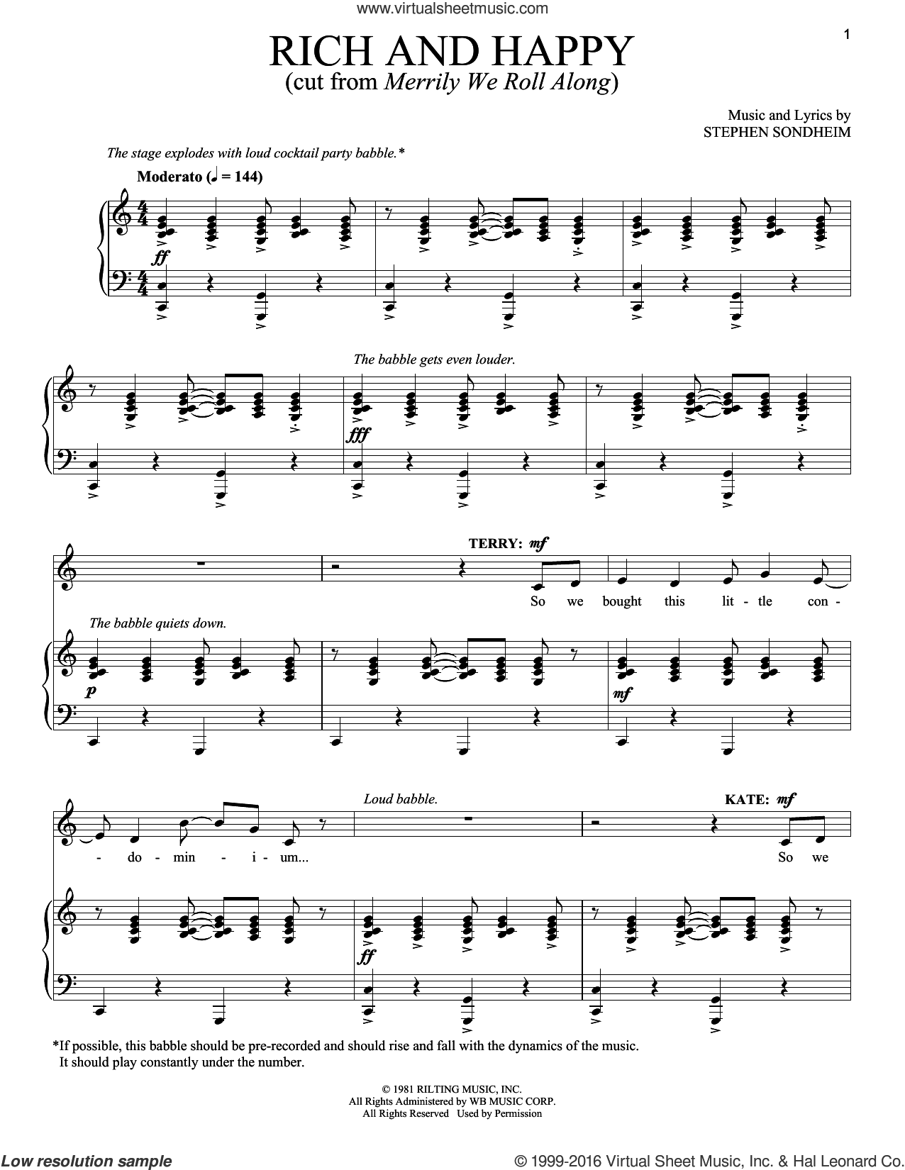 Rich And Happy sheet music for voice and piano by Stephen Sondheim. Score Image Preview.
