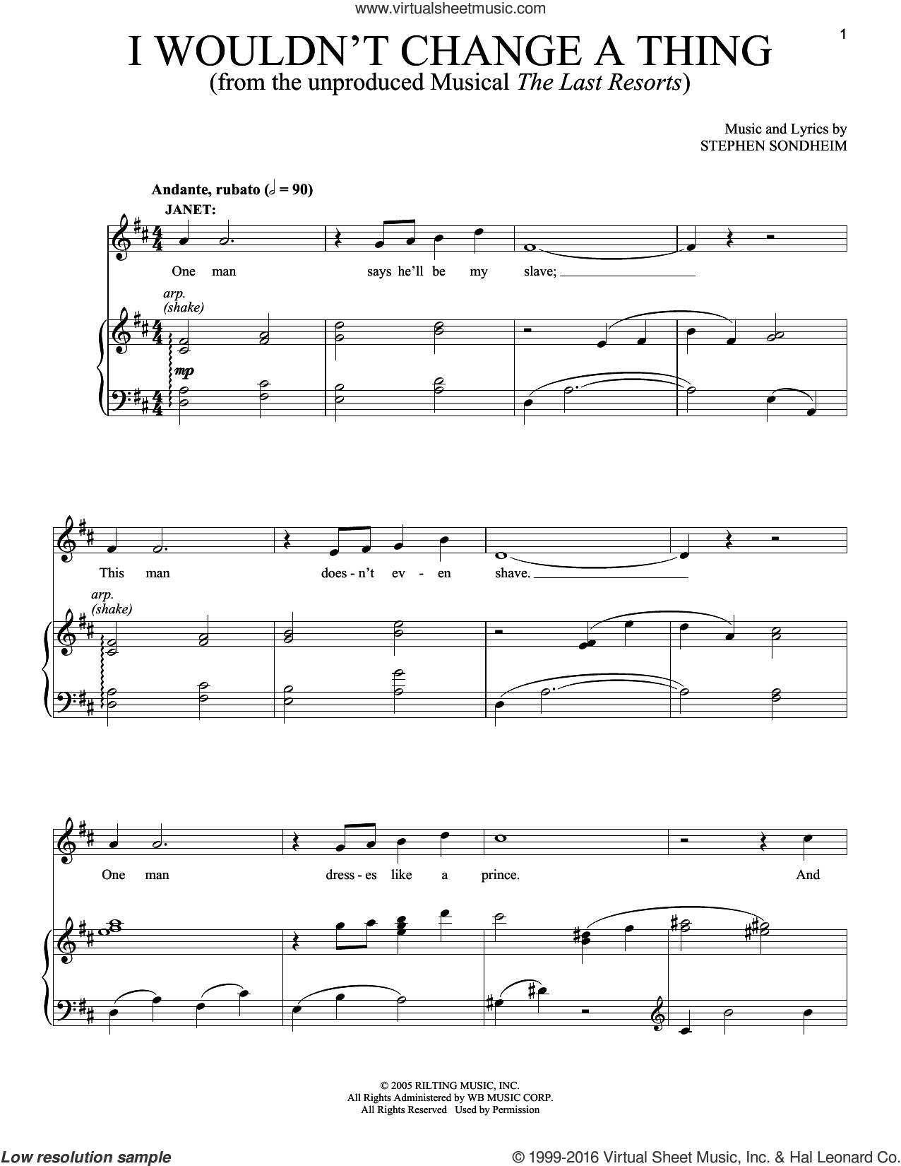 I Wouldn't Change A Thing sheet music for voice and piano by Stephen Sondheim, intermediate skill level