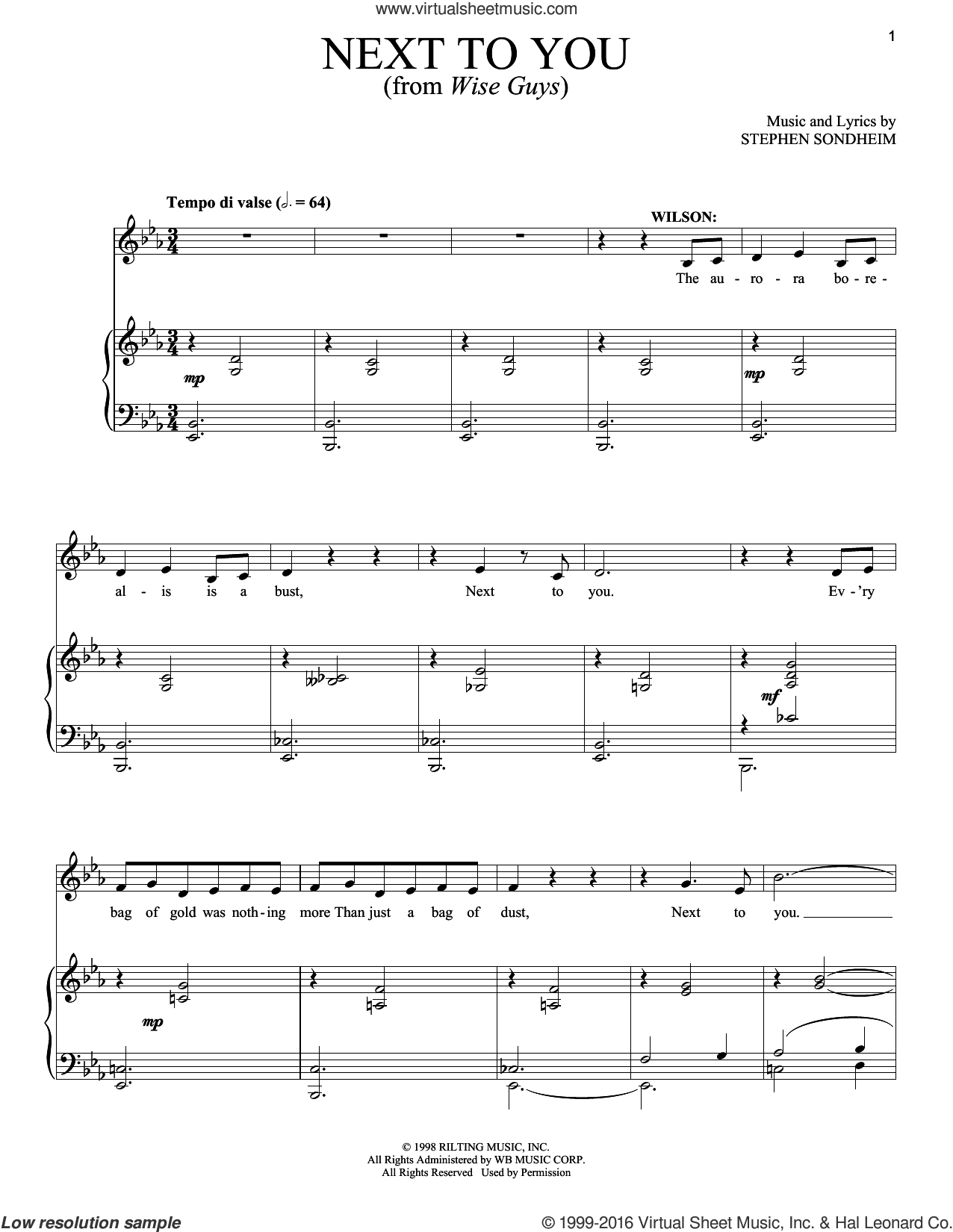Next To You sheet music for voice and piano by Stephen Sondheim. Score Image Preview.