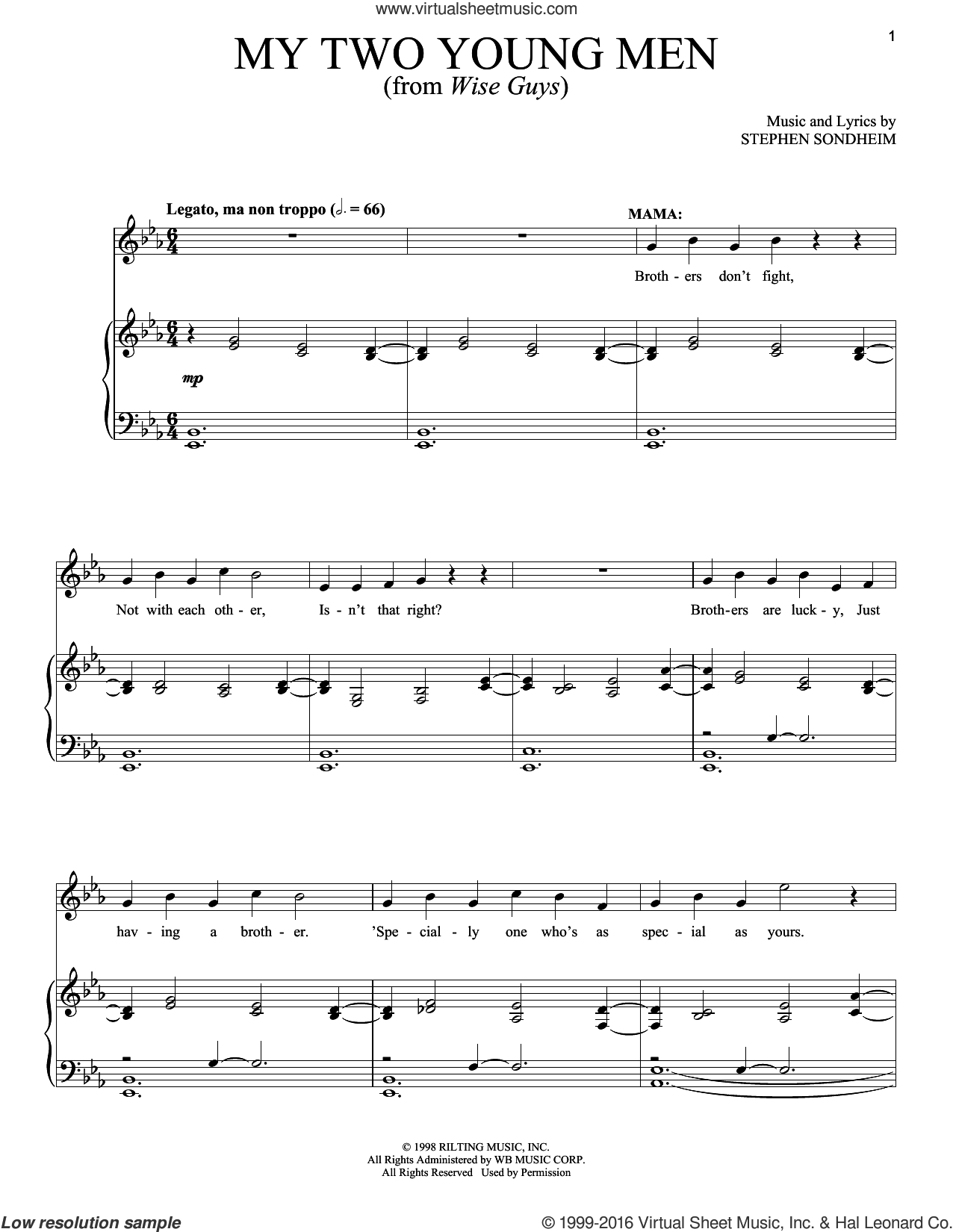 My Two Young Men sheet music for voice and piano by Stephen Sondheim, intermediate skill level
