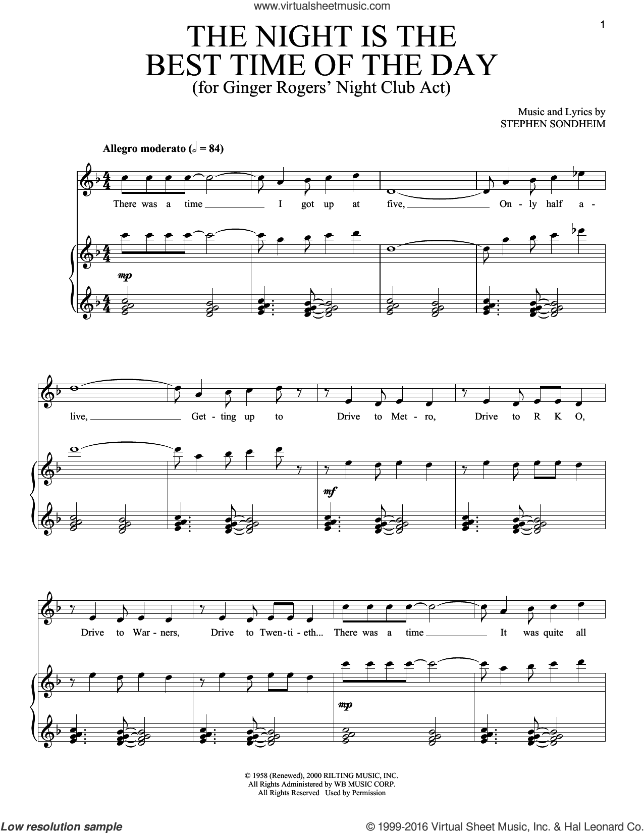 The Night Is The Best Time Of The Day sheet music for voice and piano by Stephen Sondheim. Score Image Preview.