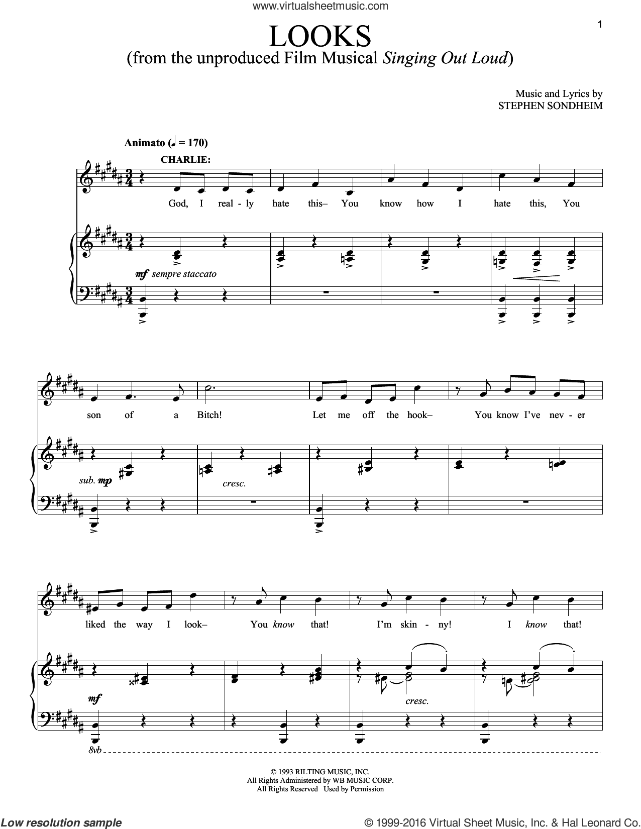 Looks sheet music for voice and piano by Stephen Sondheim. Score Image Preview.