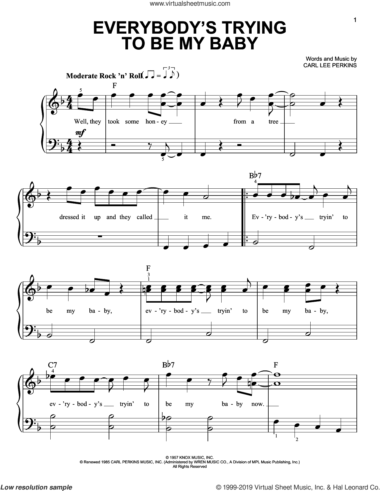 Everybody's Trying To Be My Baby sheet music for piano solo by The Beatles and Carl Perkins, easy skill level