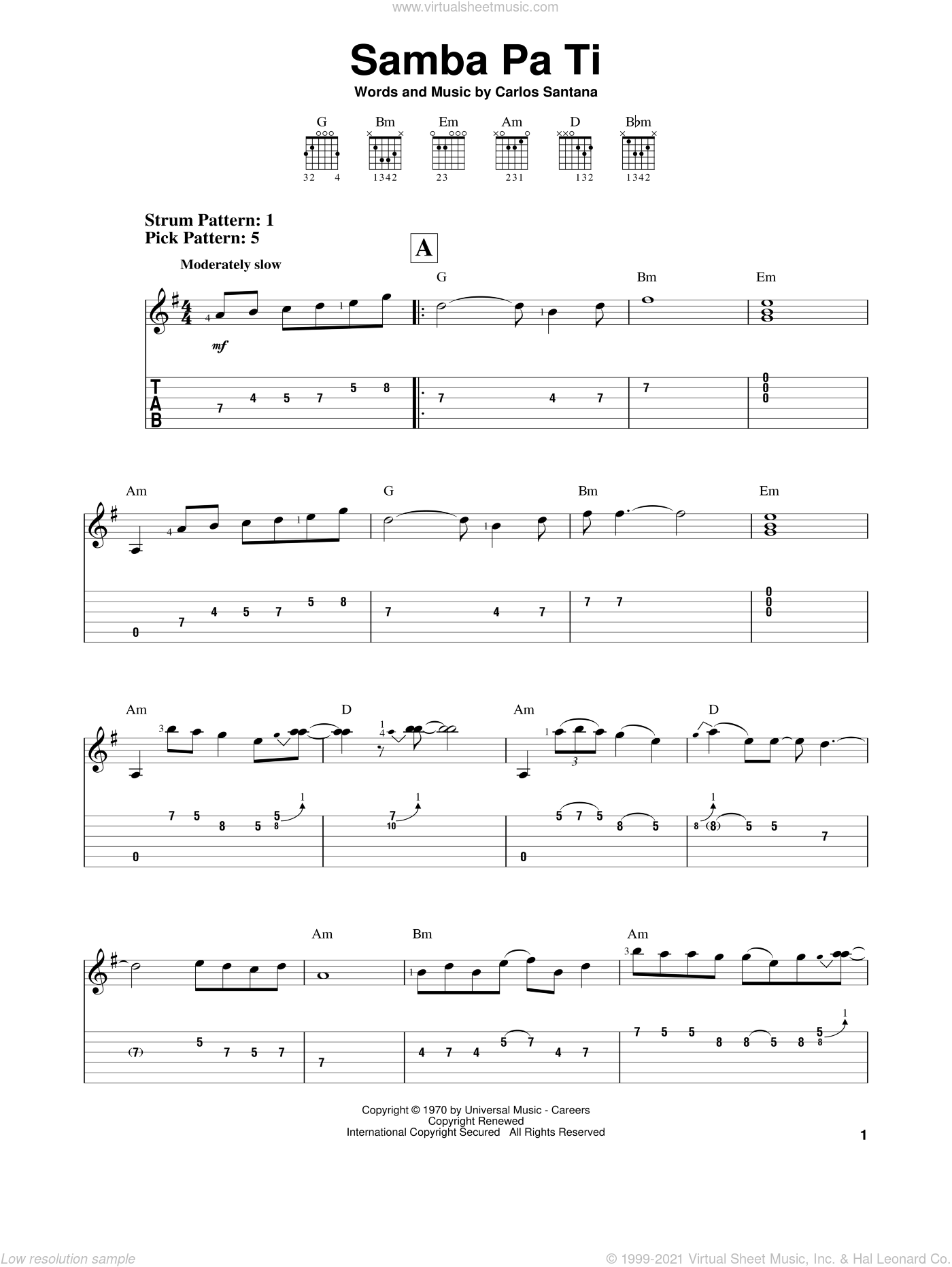 Samba Pa Ti sheet music for guitar solo (easy tablature) by Carlos Santana. Score Image Preview.