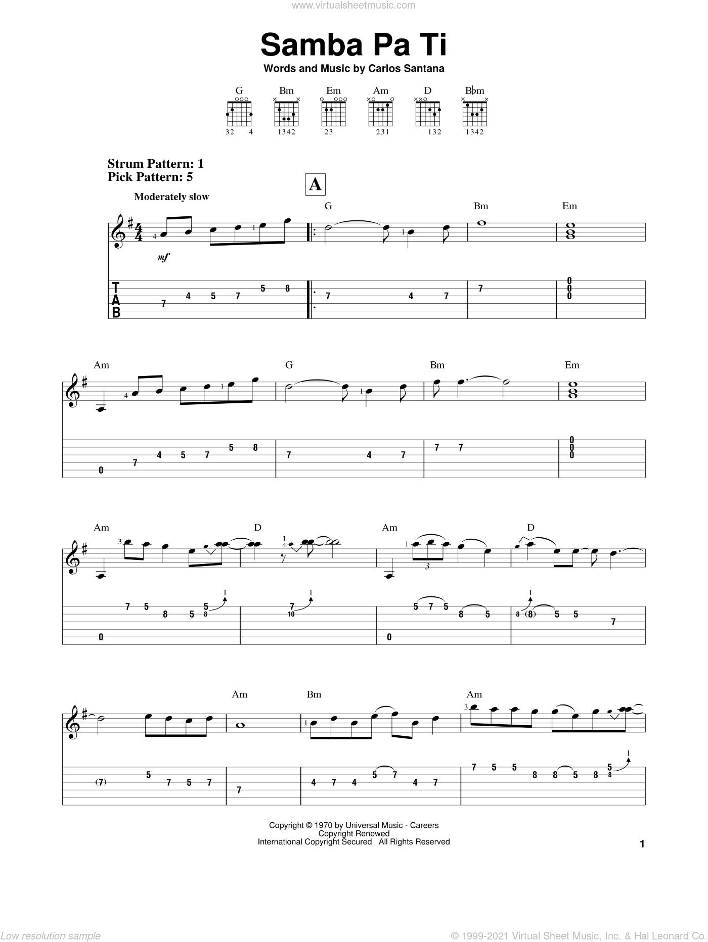 Samba Pa Ti sheet music for guitar solo (easy tablature) by Carlos Santana, easy guitar (easy tablature)