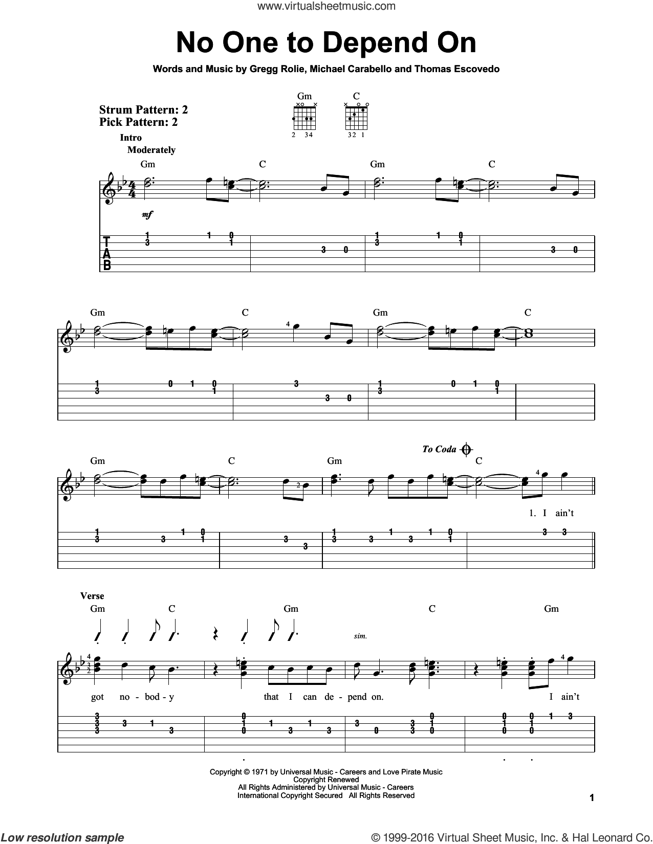 No One To Depend On sheet music for guitar solo (easy tablature) by Carlos Santana, Gregg Rolie, Michael Carabello and Thomas Escovedo, easy guitar (easy tablature)