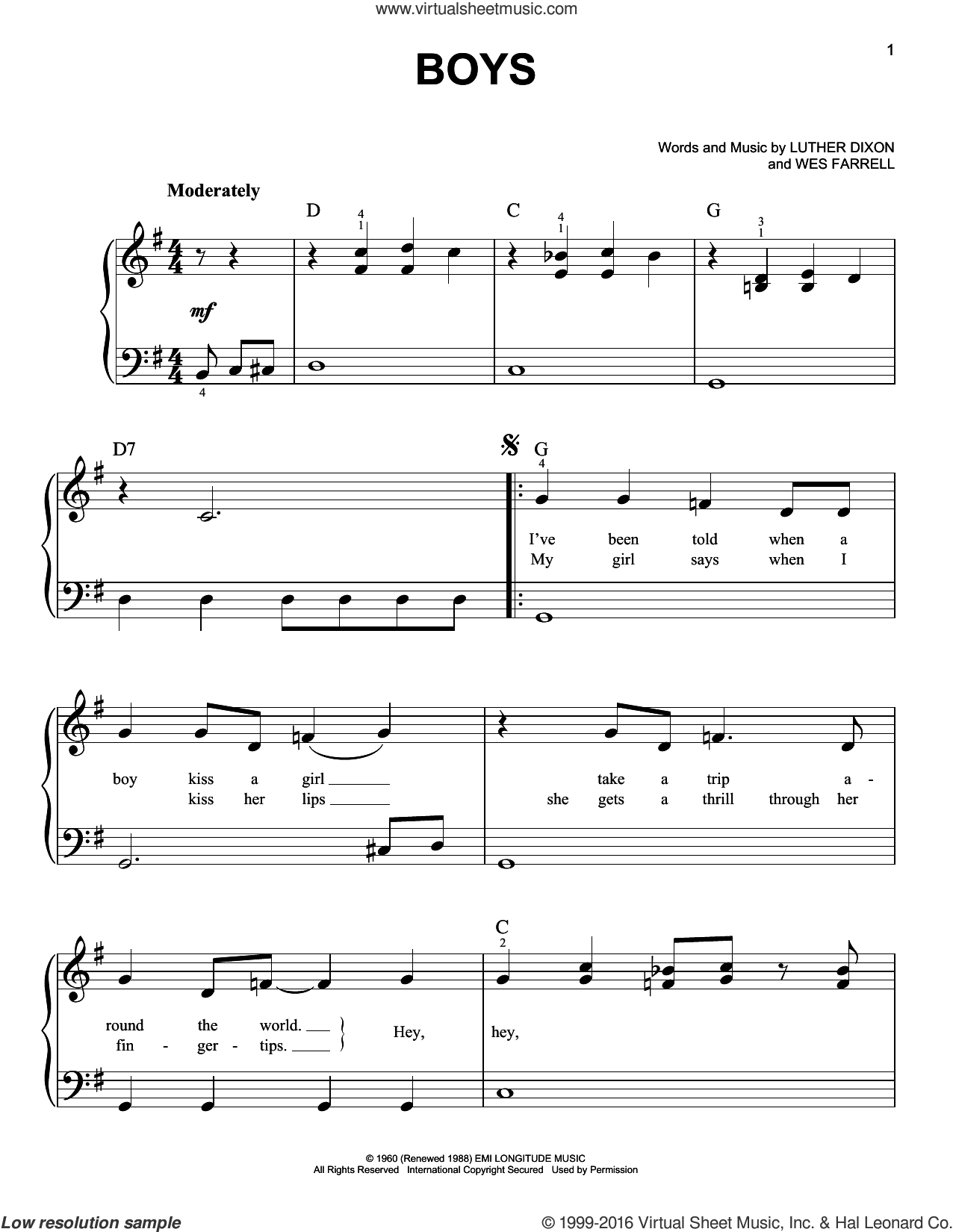 Boys sheet music for piano solo by The Beatles and Luther Dixon, easy piano. Score Image Preview.