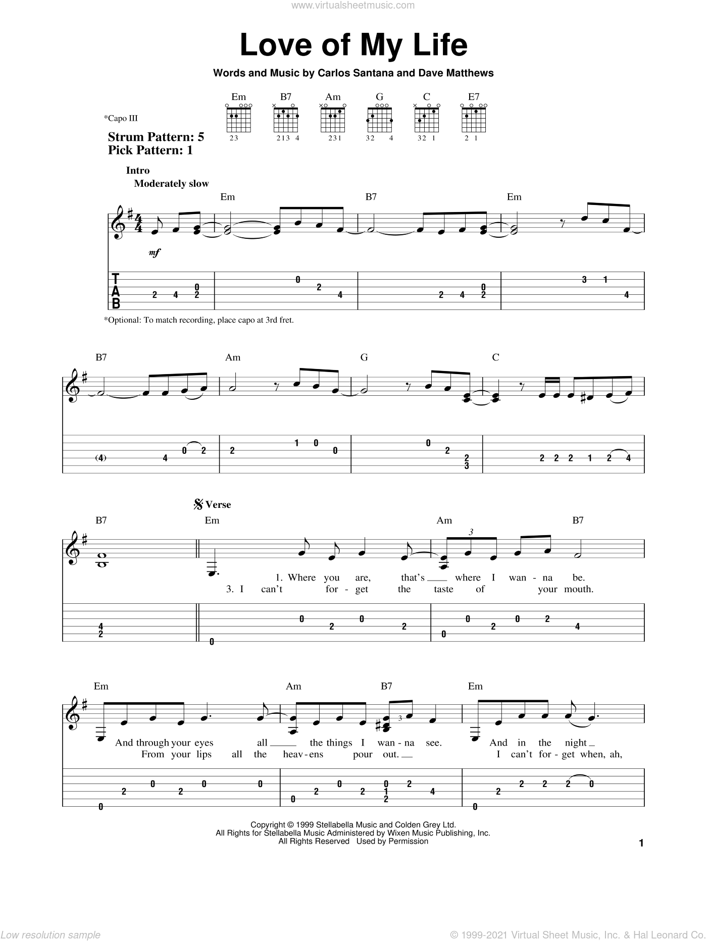 Love Of My Life sheet music for guitar solo (easy tablature) by Dave Matthews and Carlos Santana. Score Image Preview.