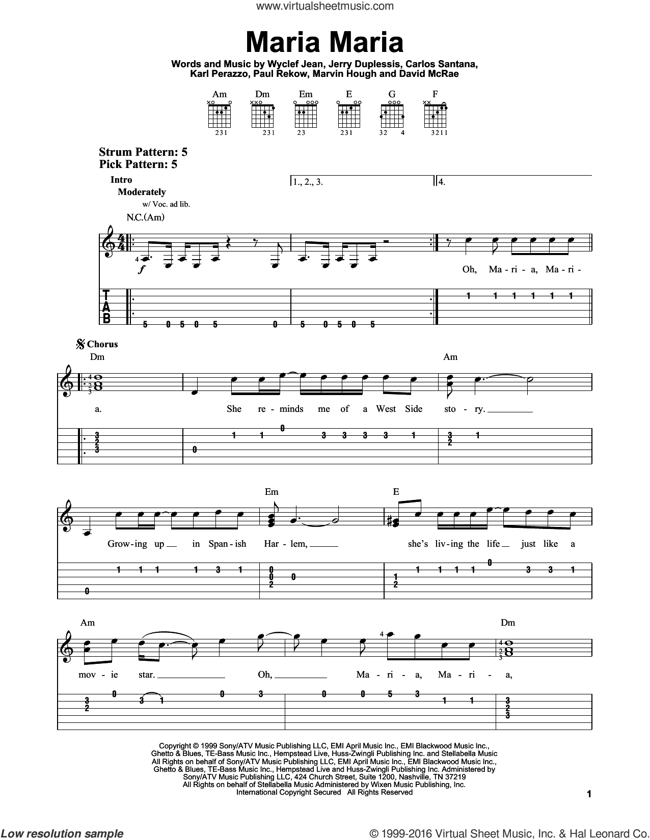 Maria Maria sheet music for guitar solo (easy tablature) by Wyclef Jean, Carlos Santana, Jerry Duplessis and Karl Perazzo. Score Image Preview.