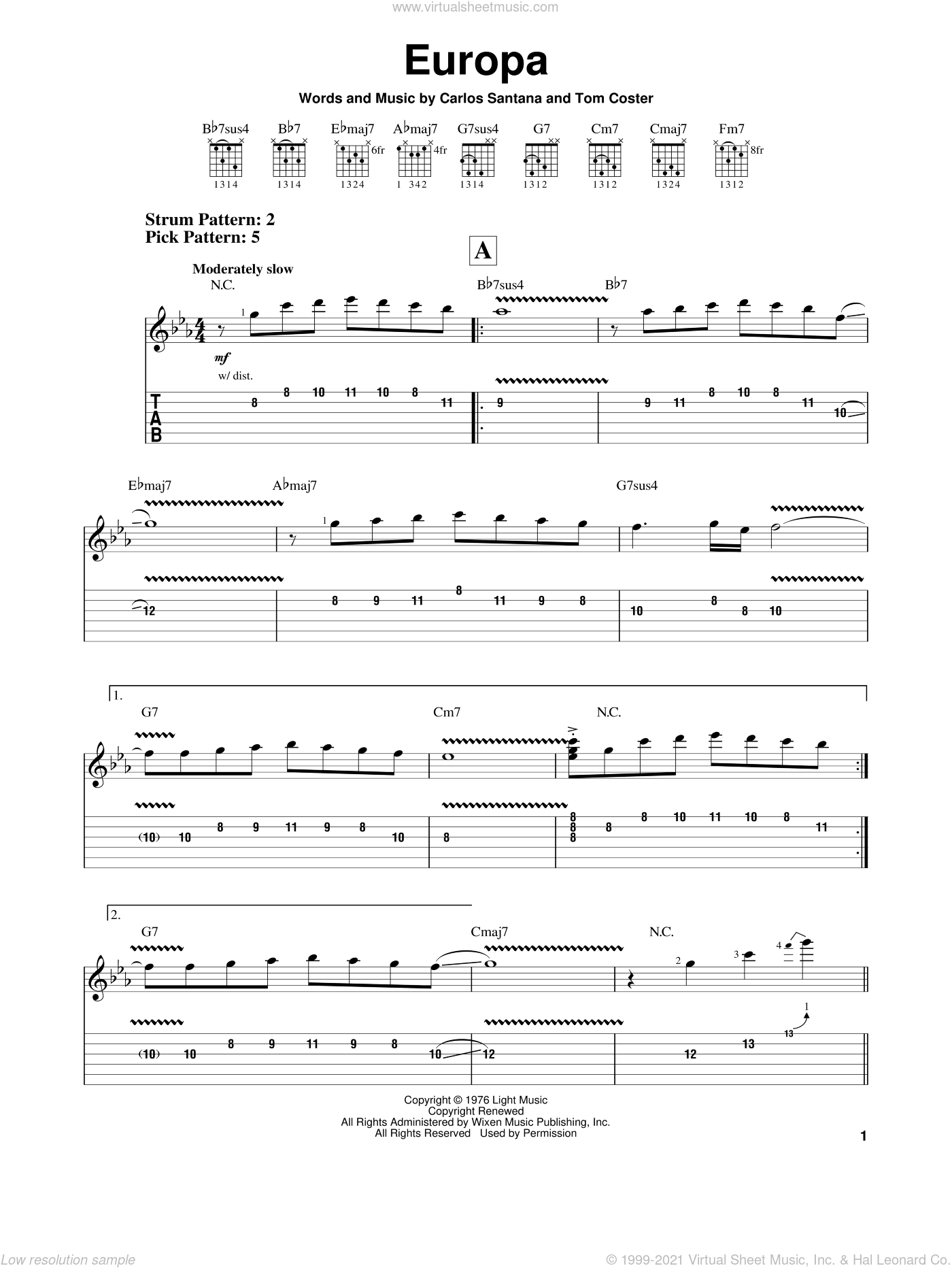 Europa sheet music for guitar solo (easy tablature) by Carlos Santana and Tom Coster, easy guitar (easy tablature)