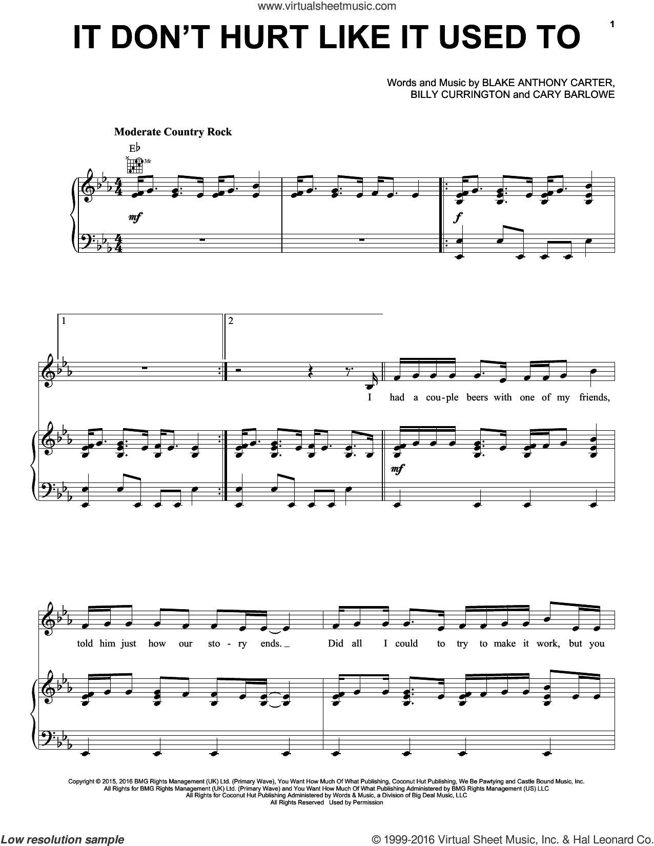 It Don't Hurt Like It Used To sheet music for voice, piano or guitar by Billy Currington, Blake Anthony Carter and Cary Barlowe, intermediate skill level