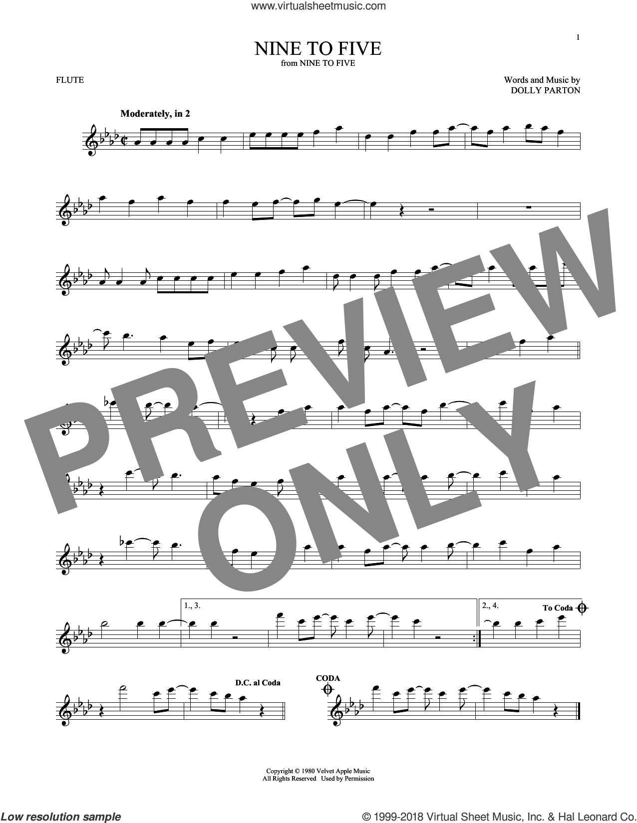 Nine To Five sheet music for flute solo by Dolly Parton, intermediate skill level