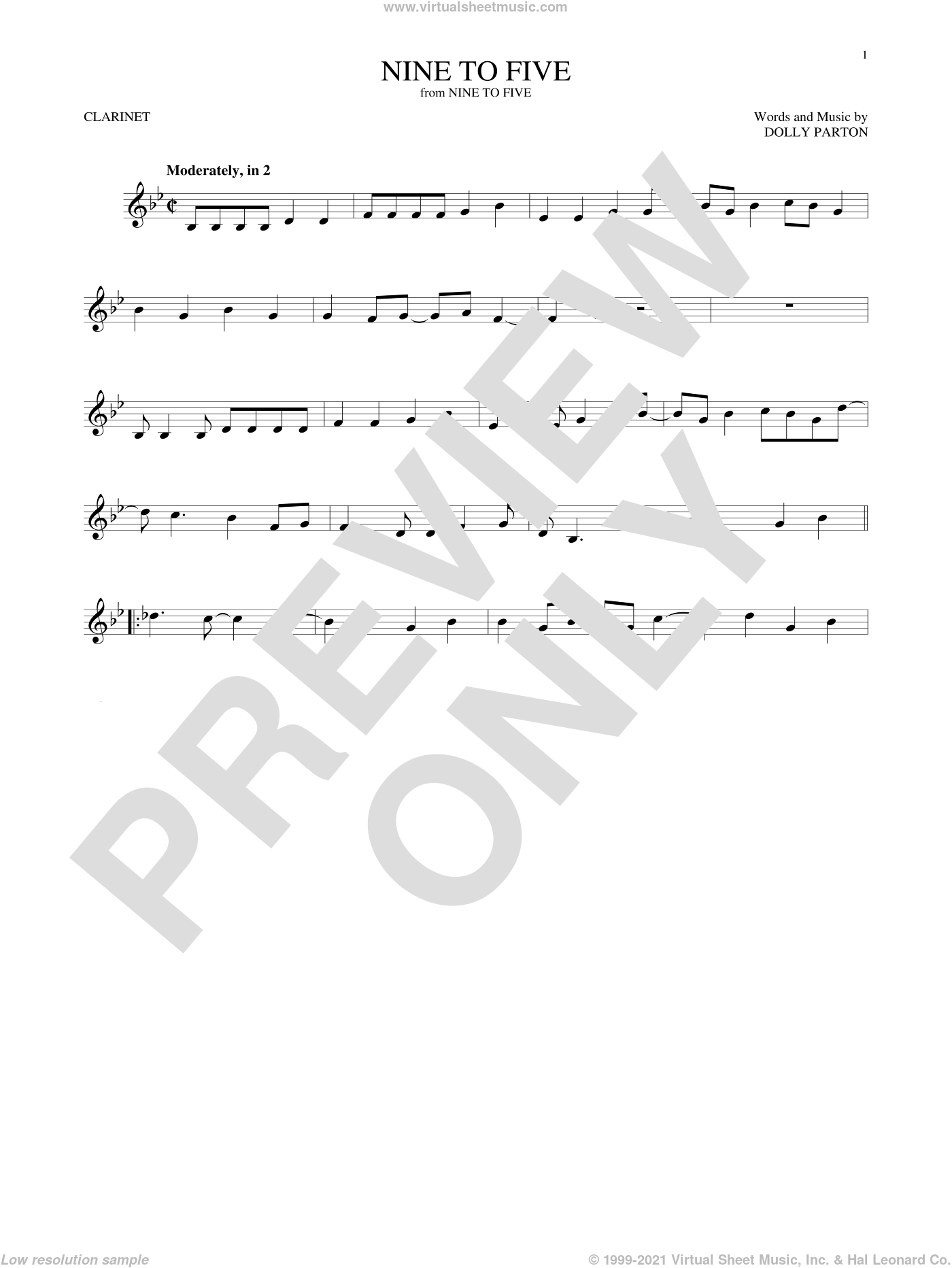 Nine To Five sheet music for clarinet solo by Dolly Parton, intermediate skill level