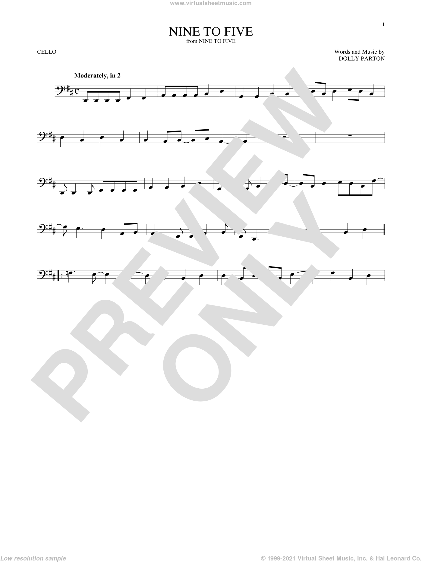 Nine To Five sheet music for cello solo by Dolly Parton, intermediate skill level