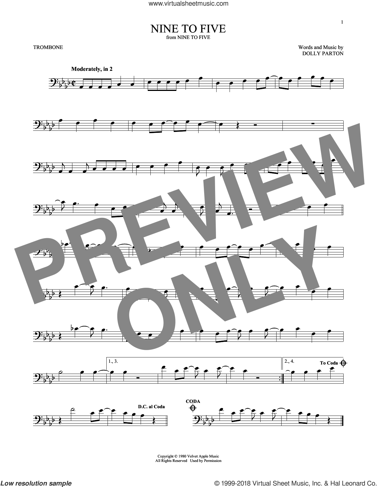 Nine To Five sheet music for trombone solo by Dolly Parton, intermediate skill level