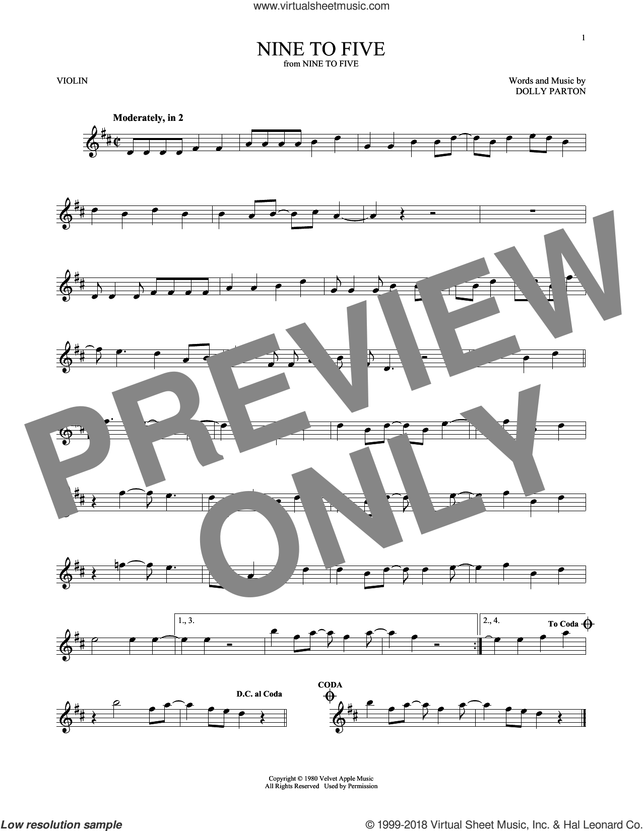 Nine To Five sheet music for violin solo by Dolly Parton, intermediate skill level