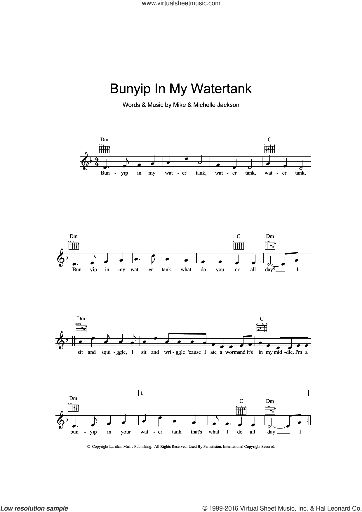 Bunyip In My Water Tank sheet music for voice and other instruments (fake book) by Mike Jackson. Score Image Preview.