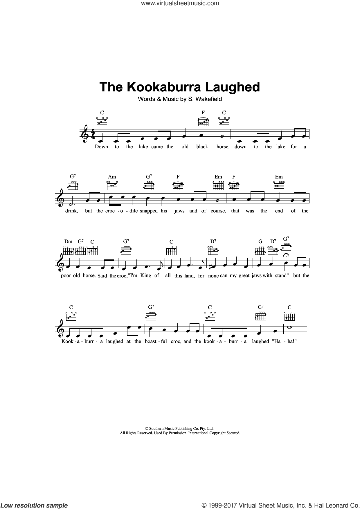 The Kookaburra Laughed sheet music for voice and other instruments (fake book) by S. Wakefield, intermediate voice. Score Image Preview.