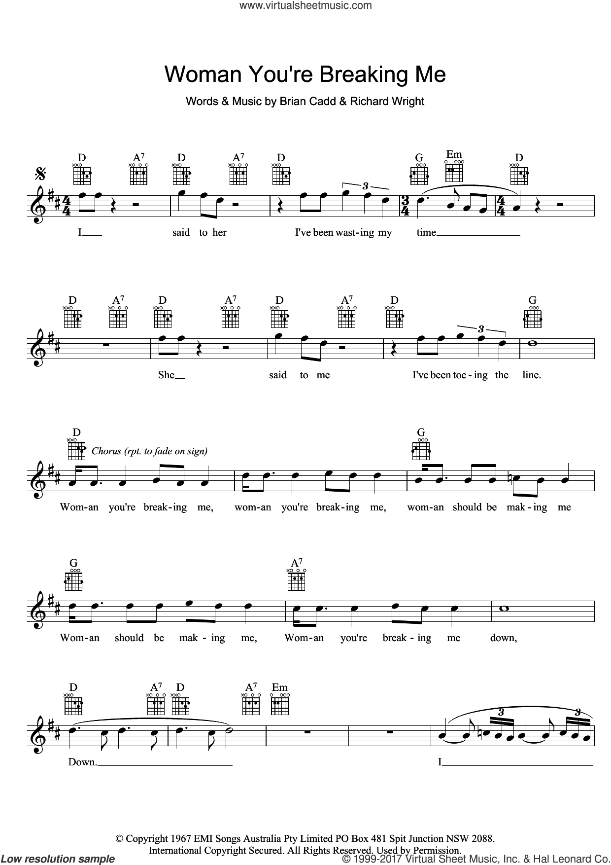 Woman You're Breaking Me sheet music for voice and other instruments (fake book) by The Groop and Richard Wright, intermediate. Score Image Preview.