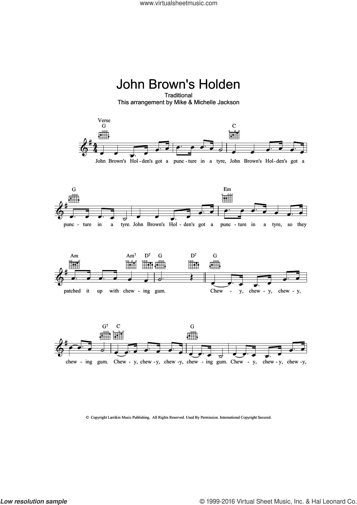 John Brown's Holden sheet music for voice and other instruments (fake book), intermediate skill level