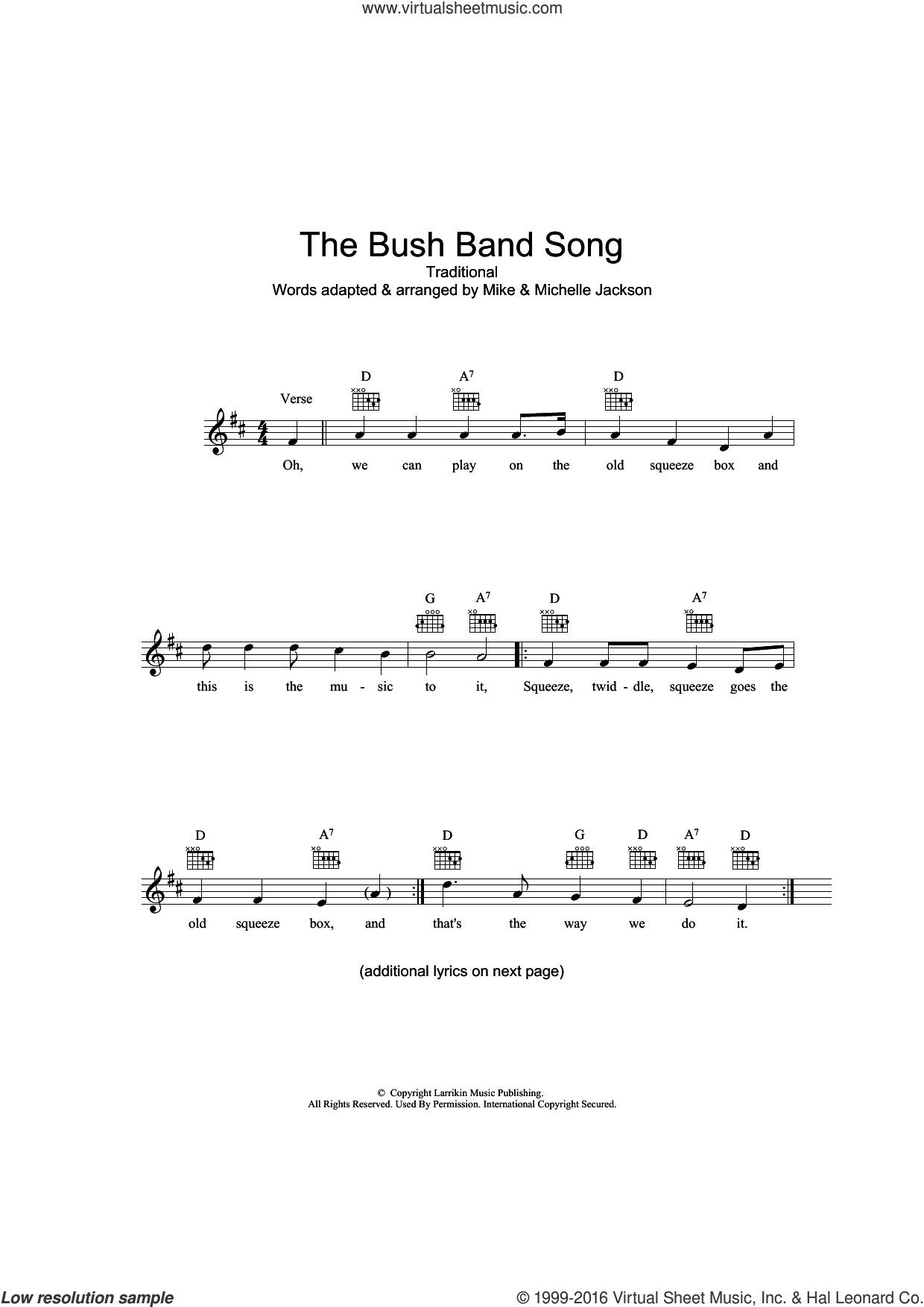 The Bush Band Song sheet music for voice and other instruments (fake book), intermediate. Score Image Preview.