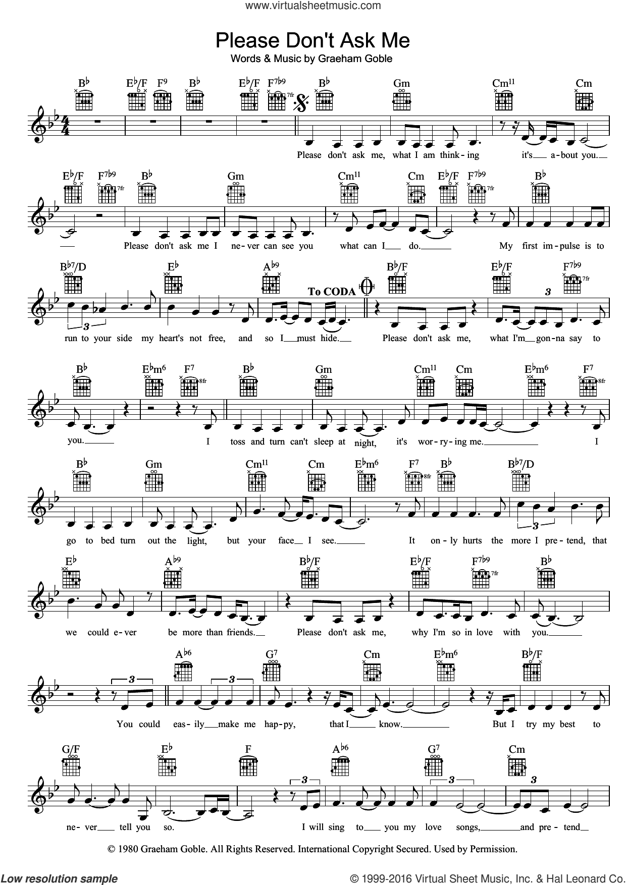 Please Don't Ask Me sheet music for voice and other instruments (fake book) by The Little River Band and Graeham Goble, intermediate skill level