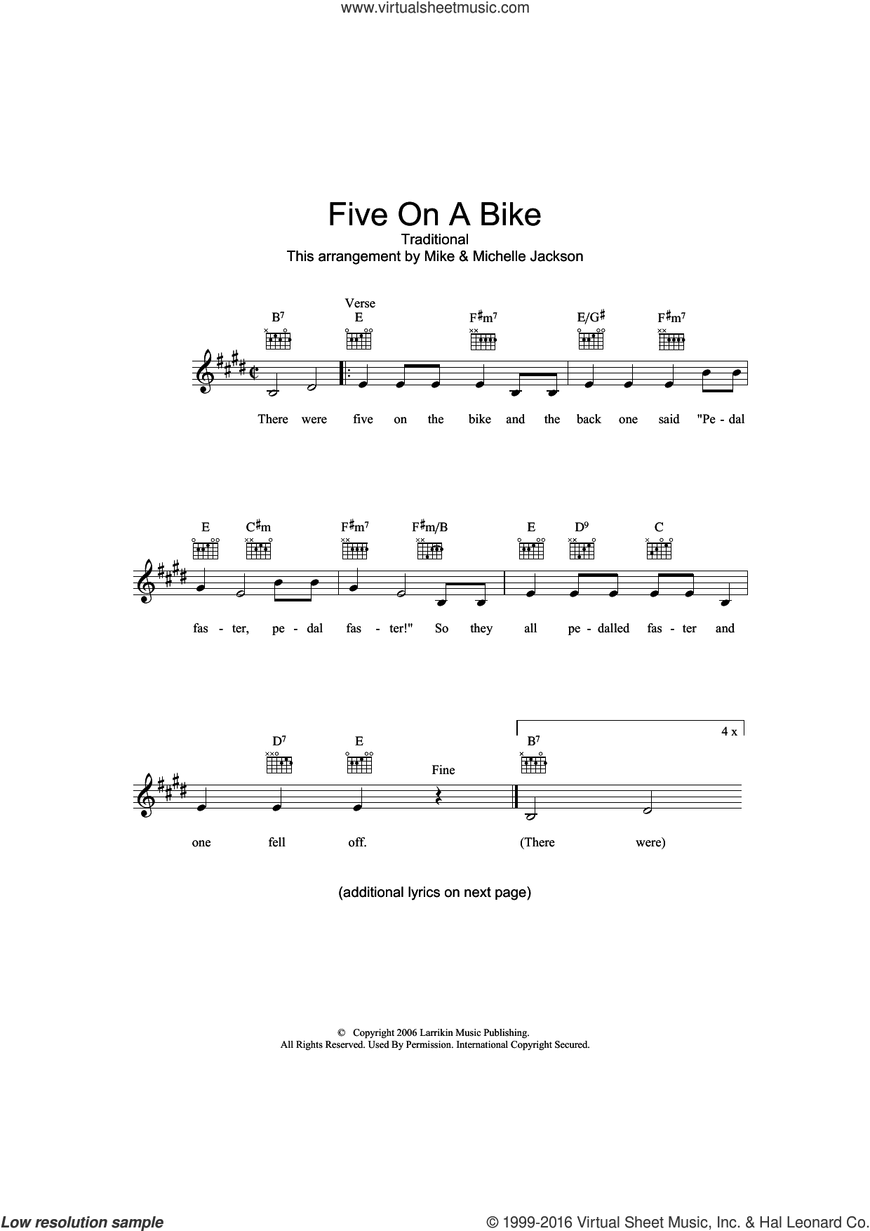 Five On A Bike sheet music for voice and other instruments (fake book), intermediate skill level